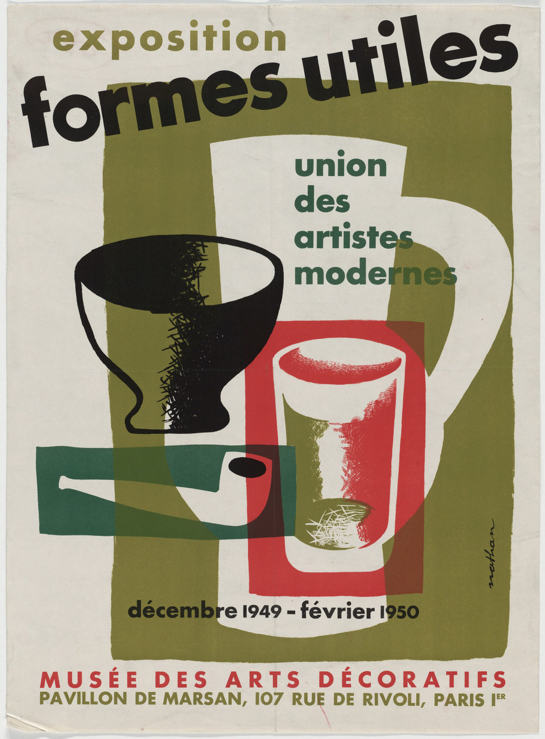 Jacques Nathan-Garamond. Formes Utiles, Union des Artistes Modernes (Useful Forms, Association of Modern Artists) (Poster for an exhibition at Musée des Arts Décoratifs). 1949