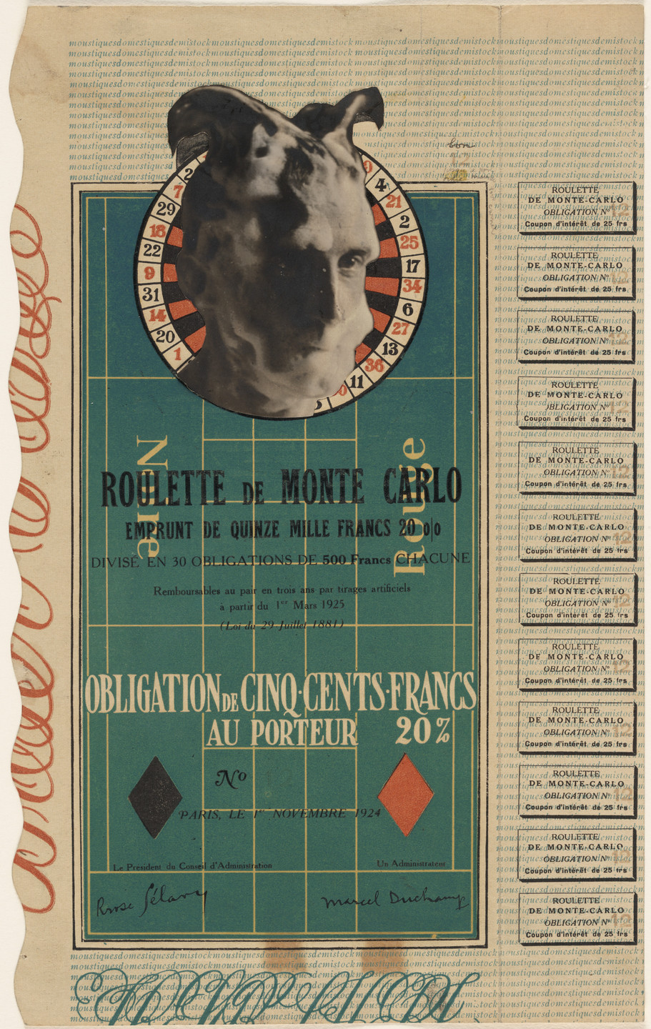 Marcel Duchamp. Monte Carlo Bond (No. 12). 1924
