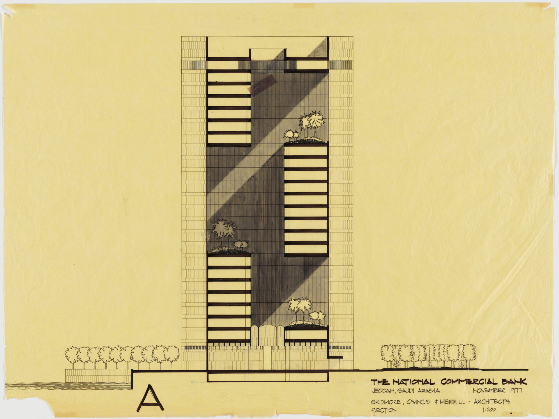Skidmore Owings & Merrill, Gordon Bunshaft. National Commercial Bank, Jeddah, Saudi Arabia (Section). 1977