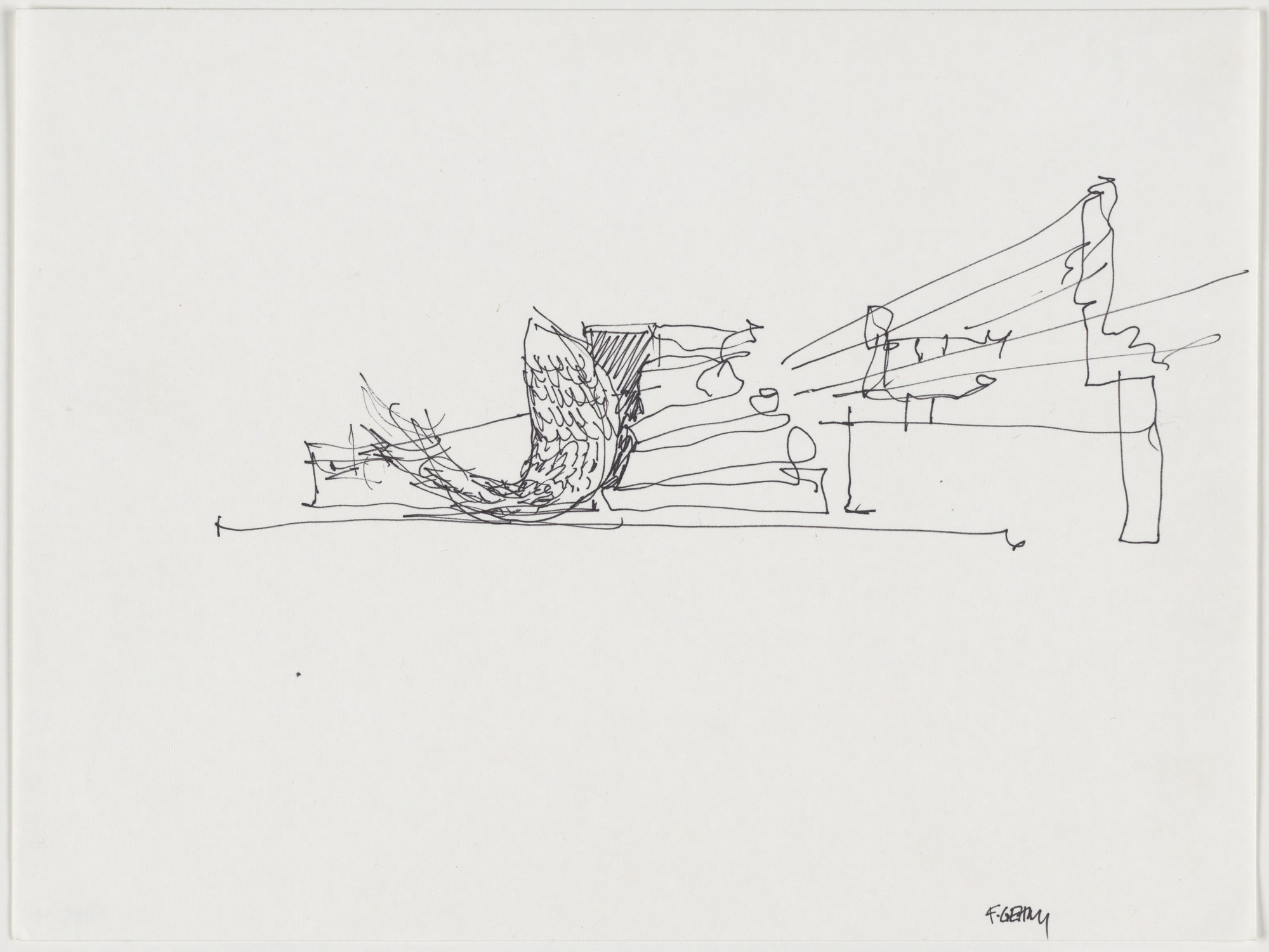 Frank O. Gehry. Sketch for Fishdance Restaurant, Kobe, Japan, Exterior perspective. 1986-87