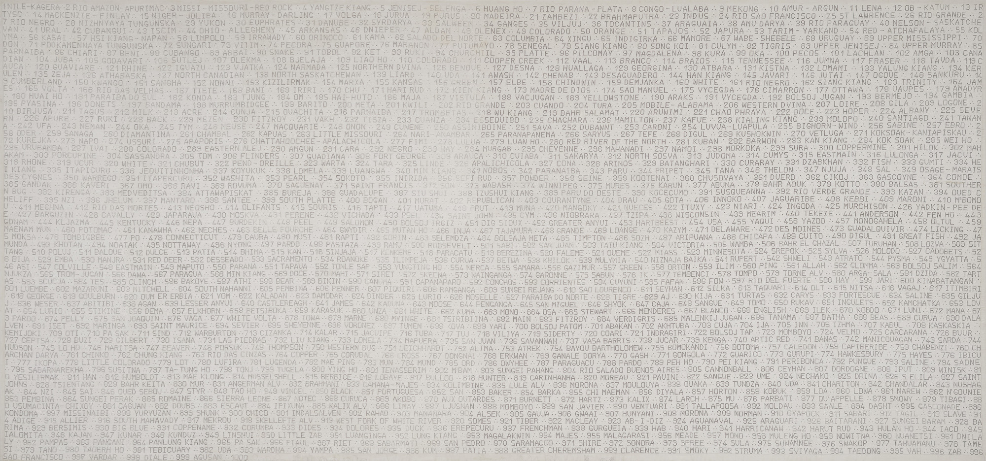 Alighiero Boetti. The Thousand Longest Rivers of the World. 1976-82