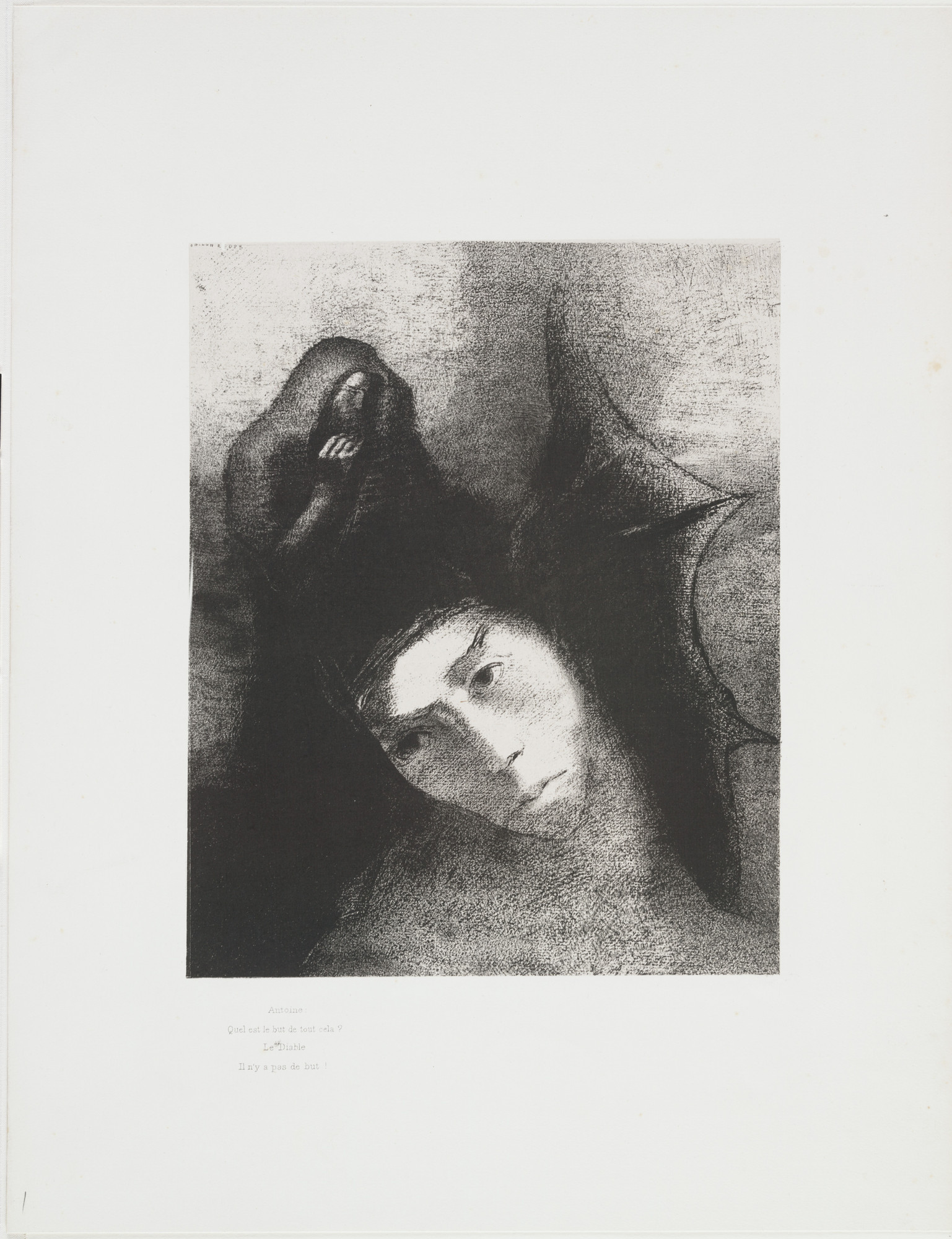 Odilon Redon. Anthony: What Is the Point of All This? The Devil: There Is No Point! (Antoine: Quel est le but de tout cela? Le Diable: Il n'y a pas de but!) from The Temptation of Saint Anthony (La Tentation de Saint-Antoine). 1896