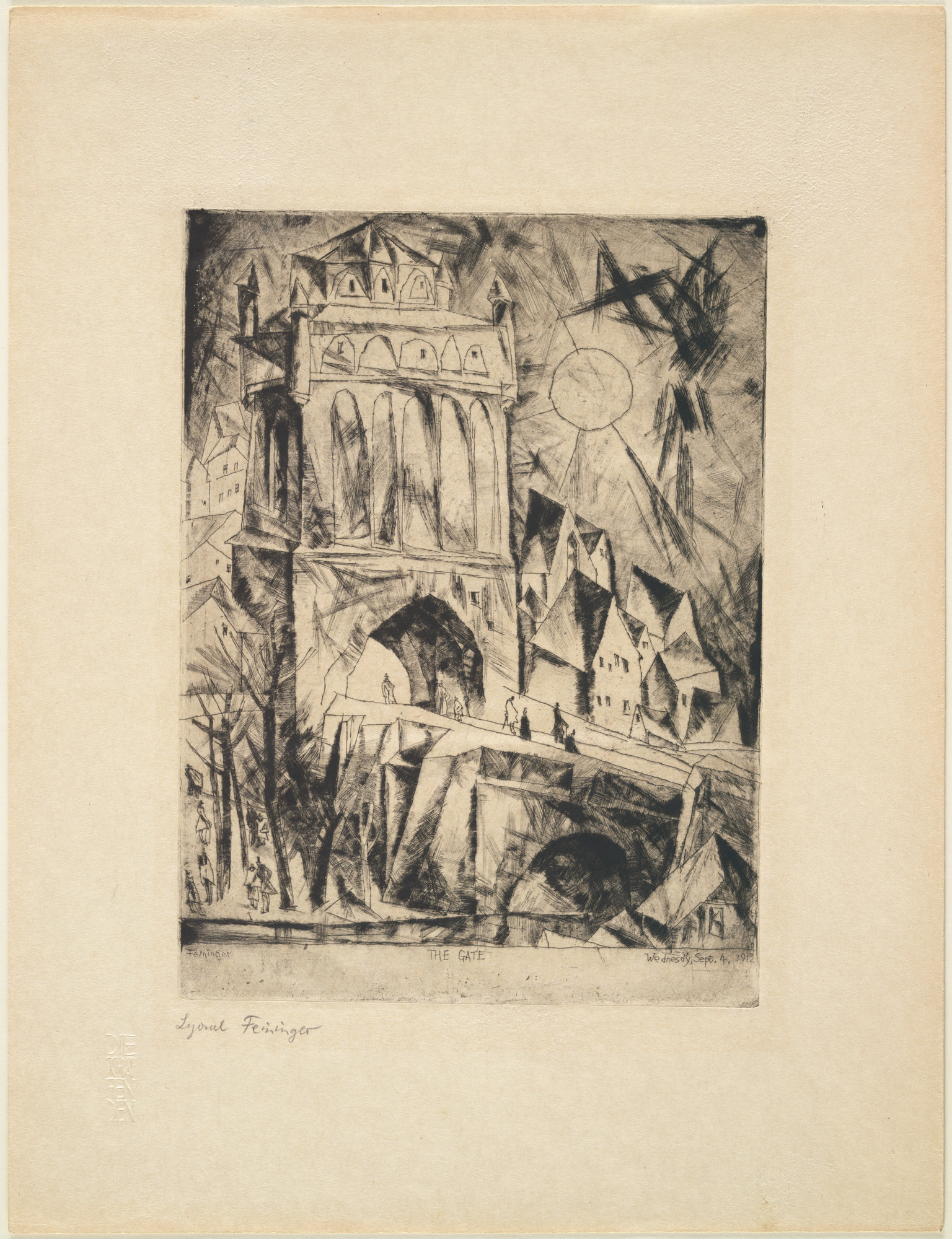 Lyonel Feininger. The Gate (Das Tor) from the portfolio Die Schaffenden, vol. 1, no. 1. (1912, published 1918)