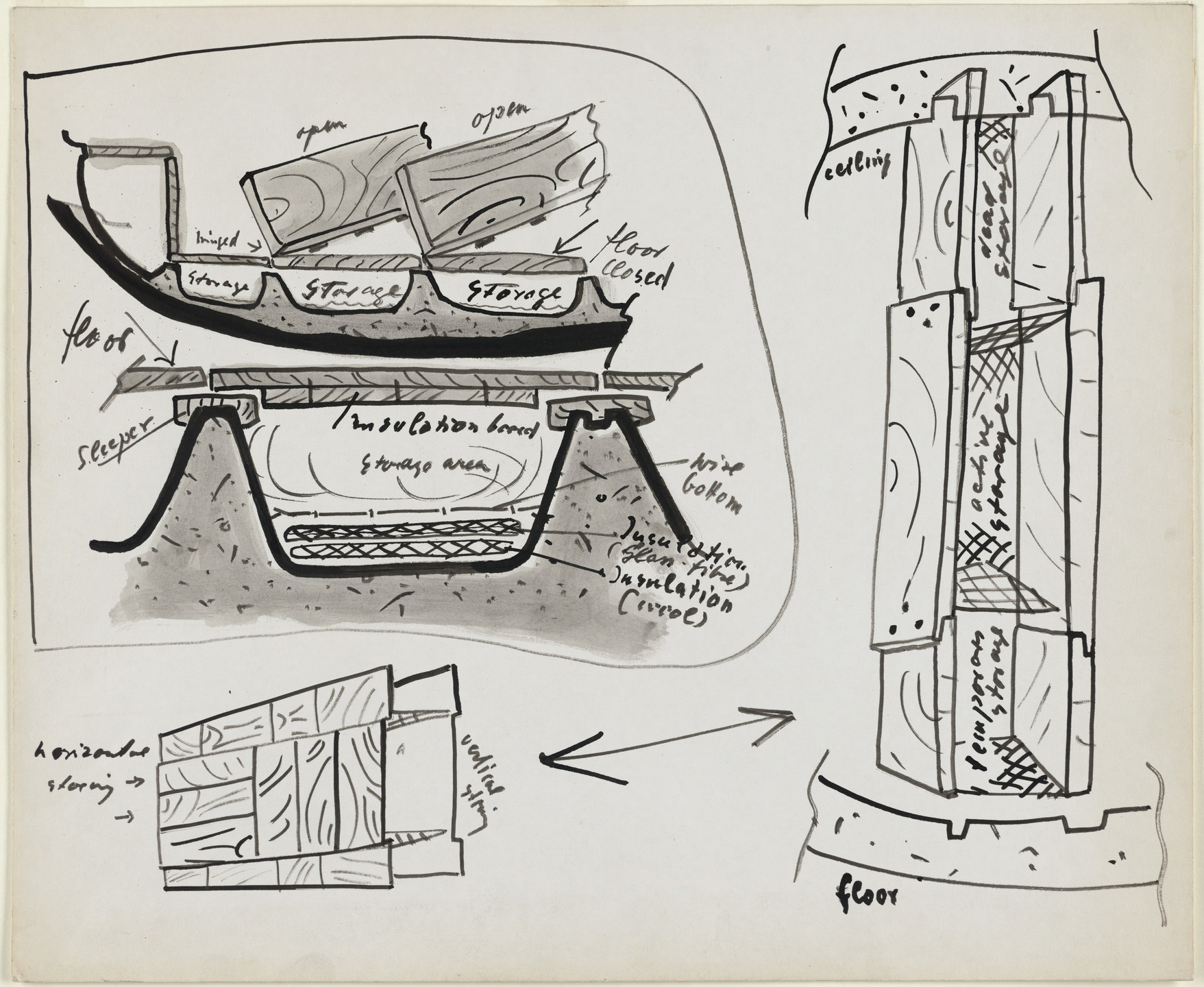Frederick Kiesler. Endless House Project, Sections of storage areas and perspectives. 1951