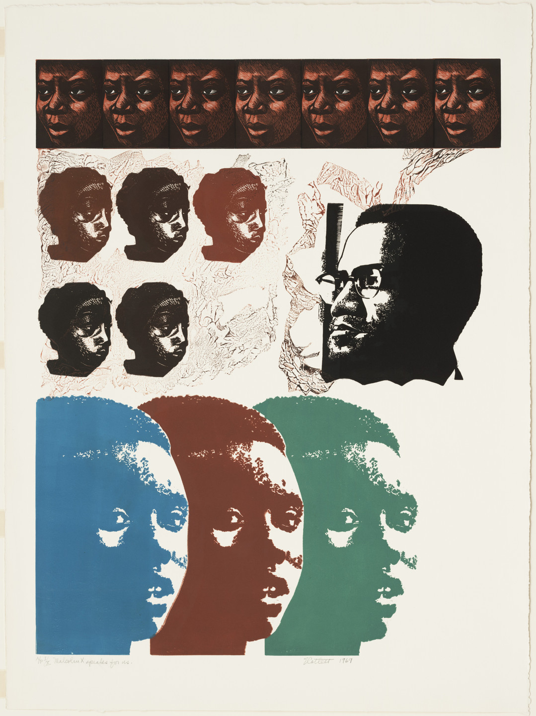 Elizabeth Catlett. Malcolm X Speaks for Us. 1969
