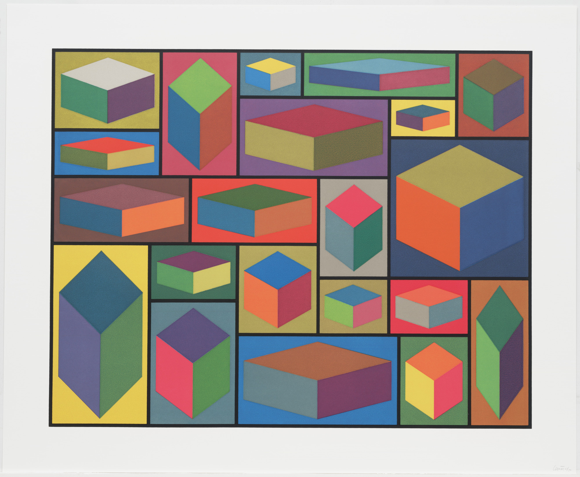 Sol LeWitt. Distorted Cubes (B) from Distorted Cubes (A-E). 2001