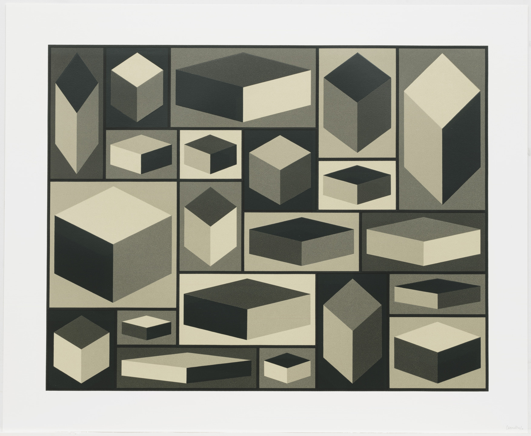 Sol LeWitt. Distorted Cubes (A) from Distorted Cubes (A-E). 2001