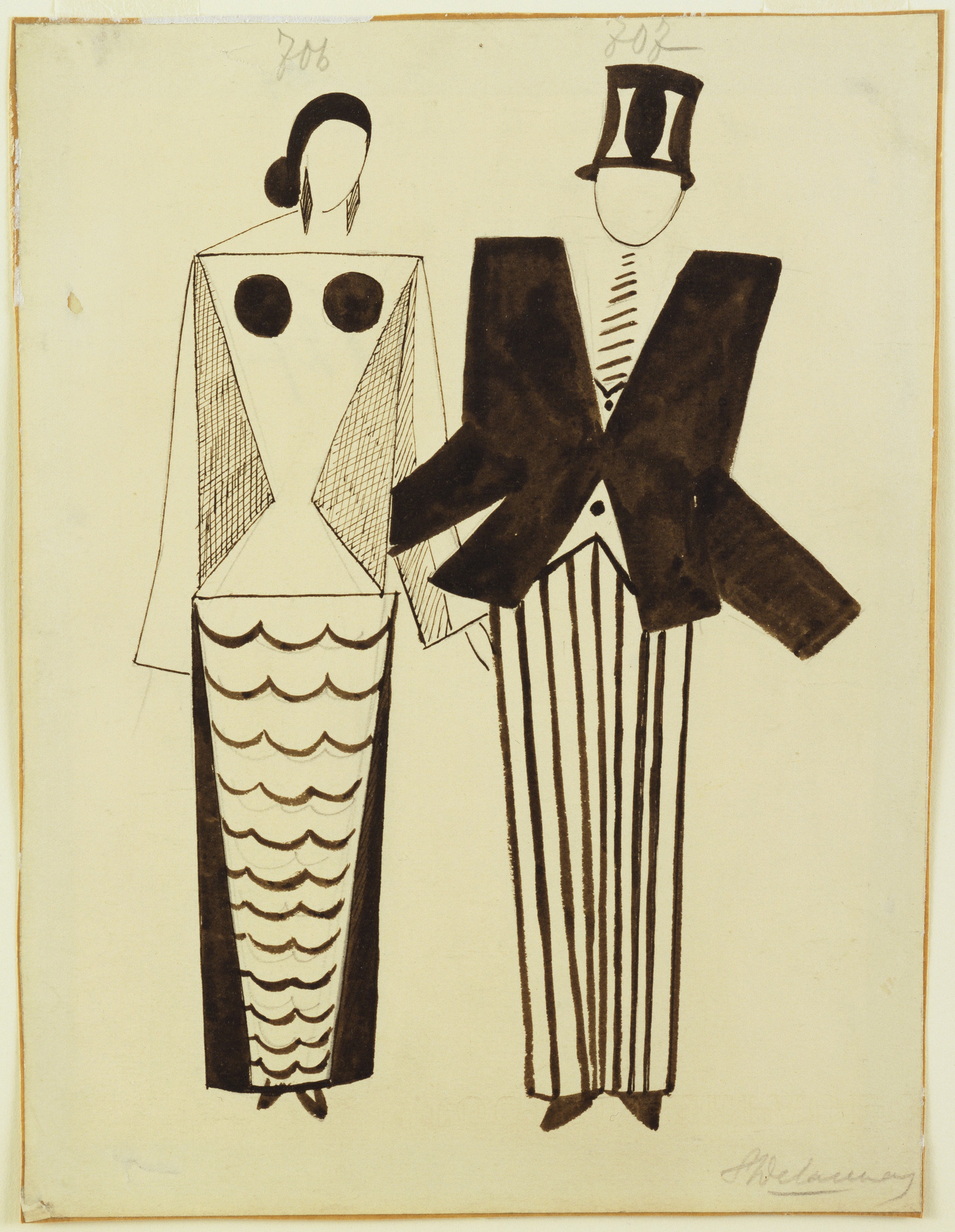 Sonia Delaunay-Terk. Miss Mouth and Mr. Eye. Costume designs for the play Le Coeur à Gaz. (1923)