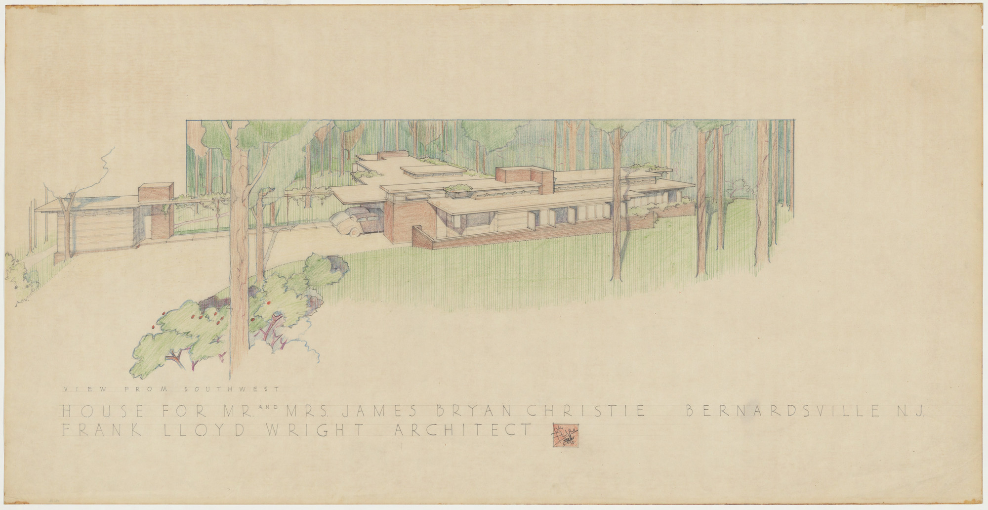 Frank Lloyd Wright. Mr. and Mrs. James Bryan Christie House, Bernardsville, New Jersey, Exterior perspective from southwest. 1940