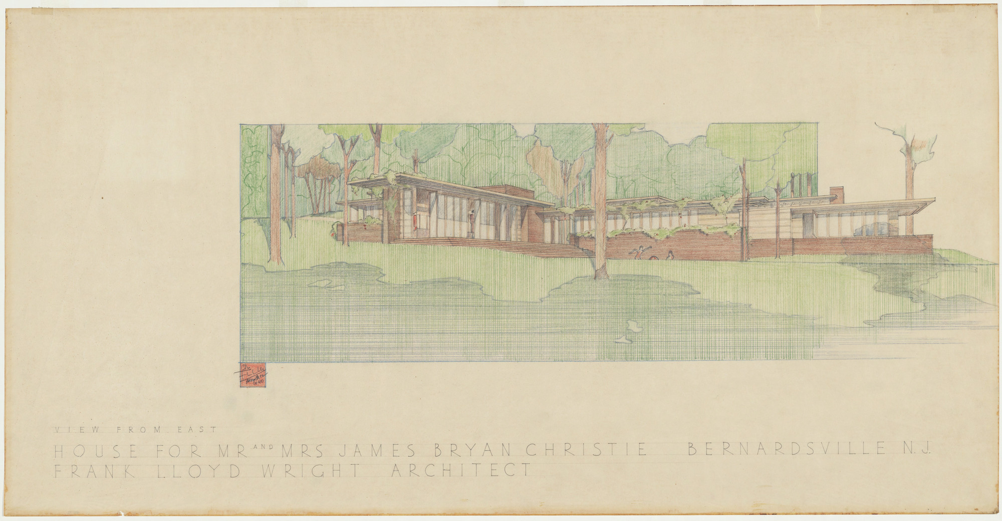 Frank Lloyd Wright. Mr. and Mrs. James Bryan Christie House, Bernardsville, New Jersey, Exterior perspective from east. 1940