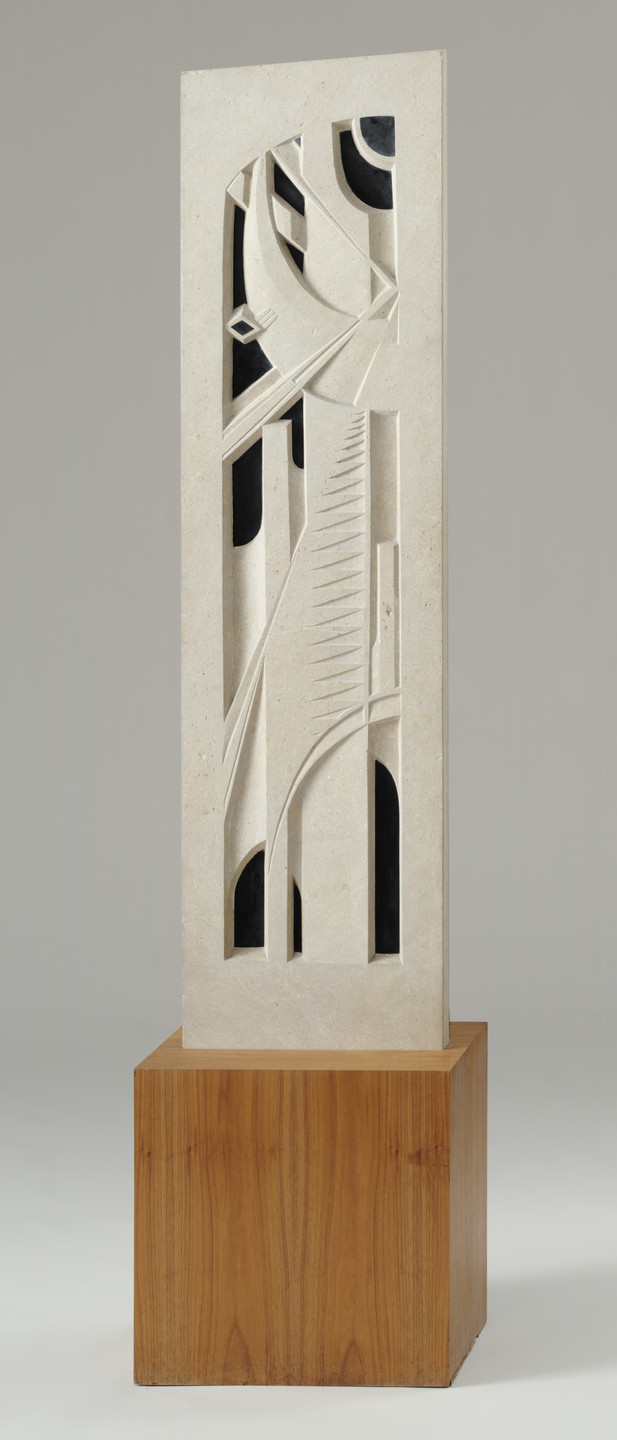 John Storrs. Stone Panel with Black Marble Inlay. 1920-21