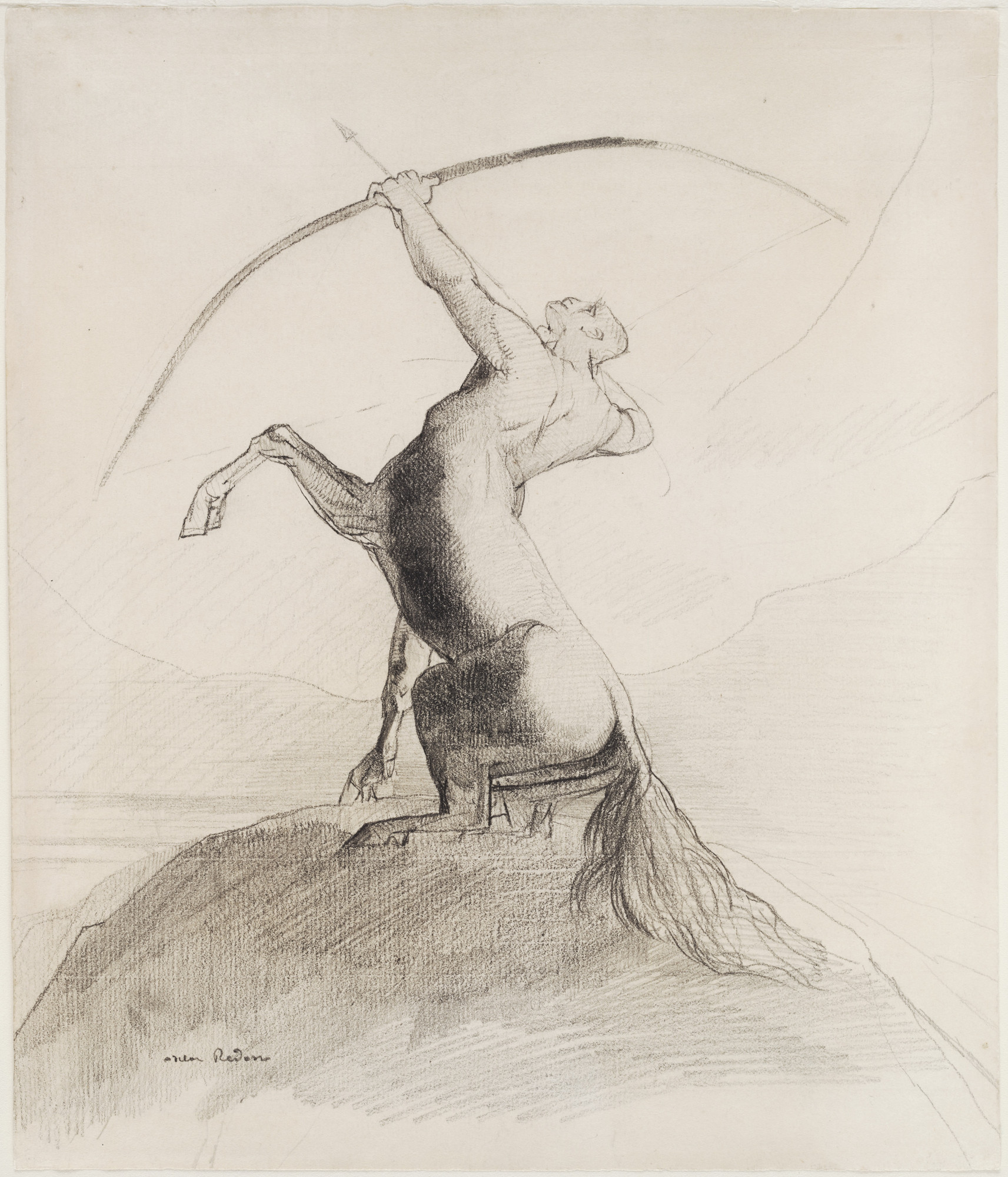 Odilon Redon. Centaur Aiming at the Clouds. (c. 1875)