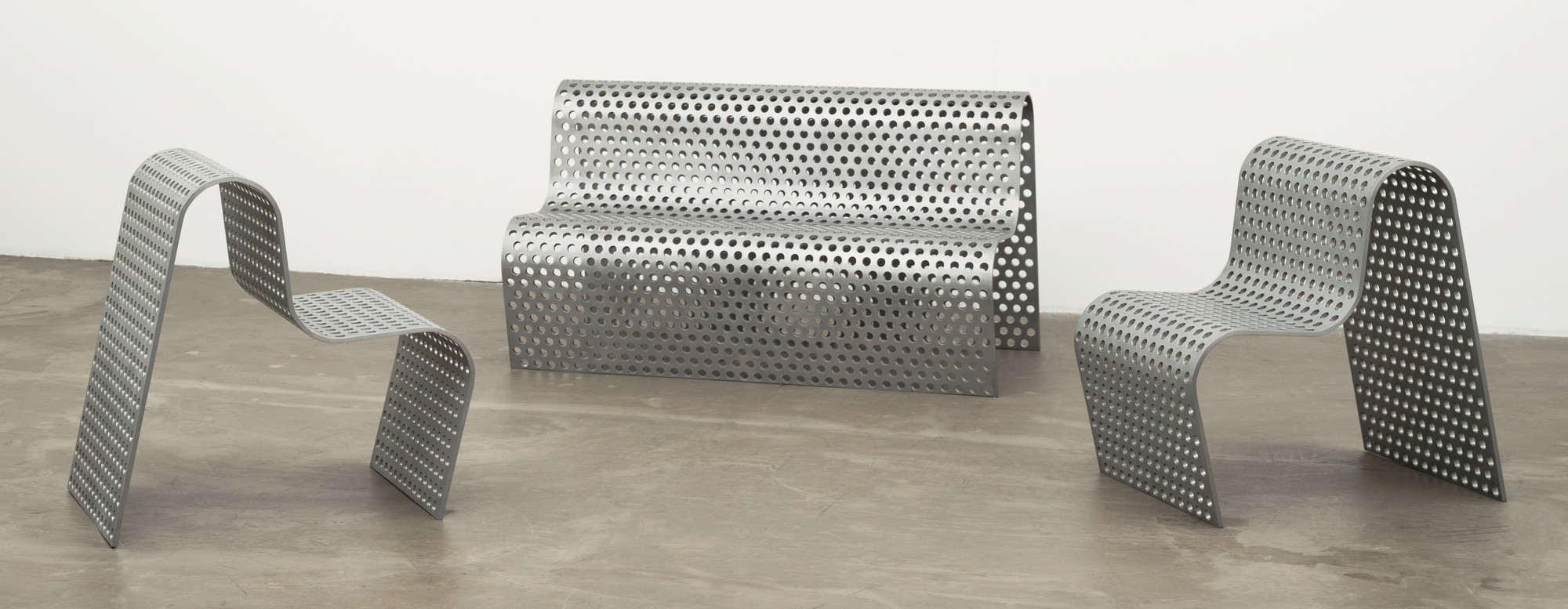 Scott Burton. Perforated Metal Settee and Perforated Metal Chairs. 1988-89