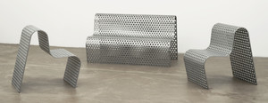 Perforated Metal Settee and Perforated Metal Chairs