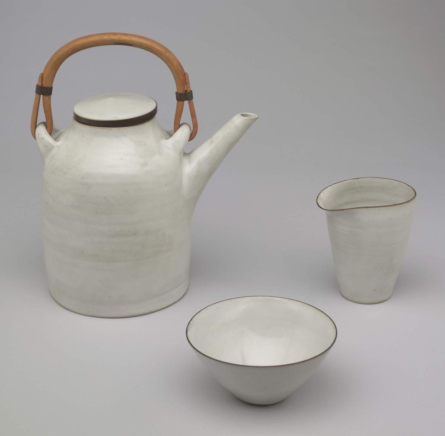 Lucie Rie. Teapot, Cream Pitcher, and Sugar Bowl. c. 1950