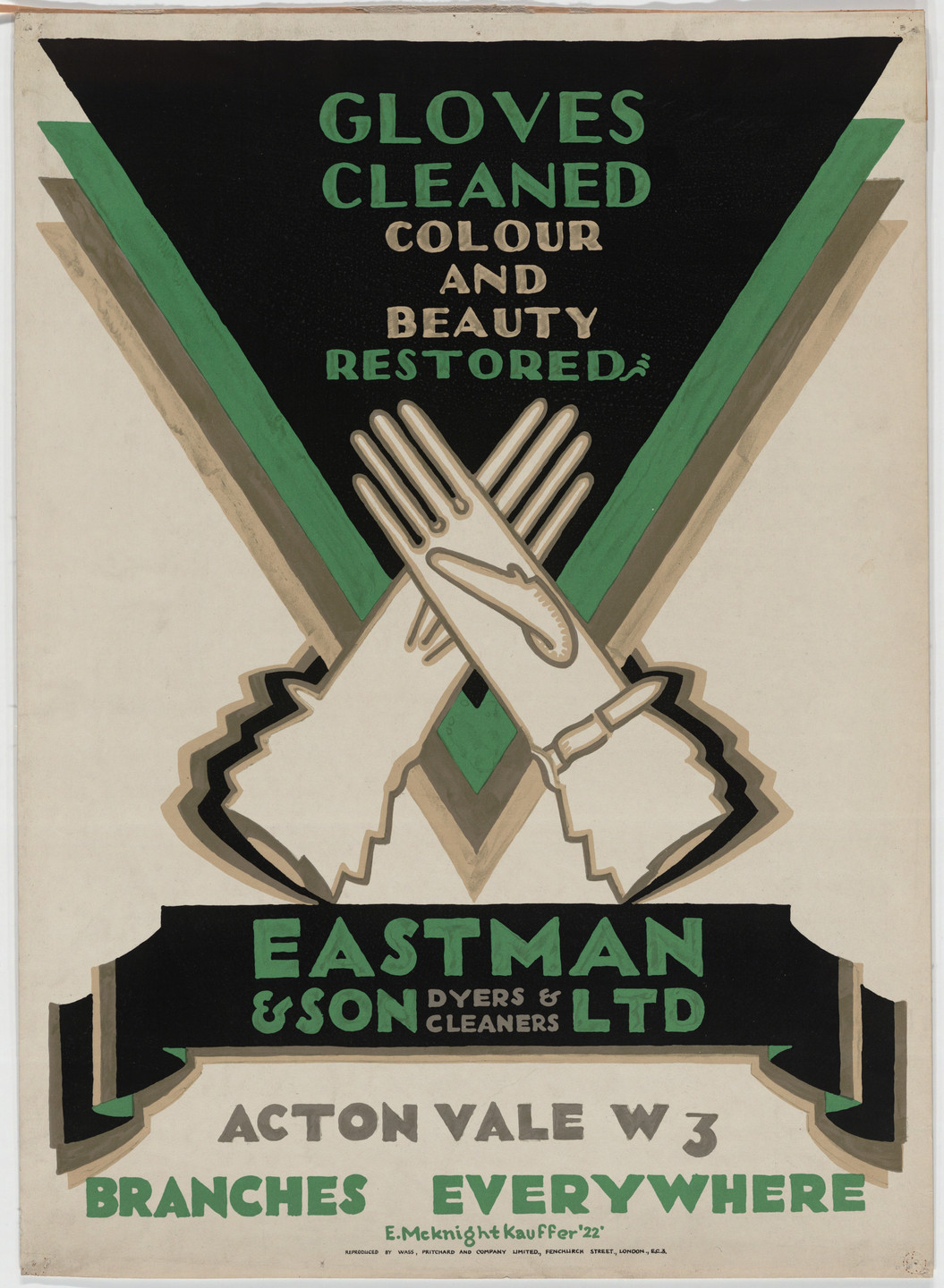 E. McKnight Kauffer. Gloves Cleaned, Colour and Beauty Restored, Eastman & Son, Ltd., Dyers and Cleaners. 1922