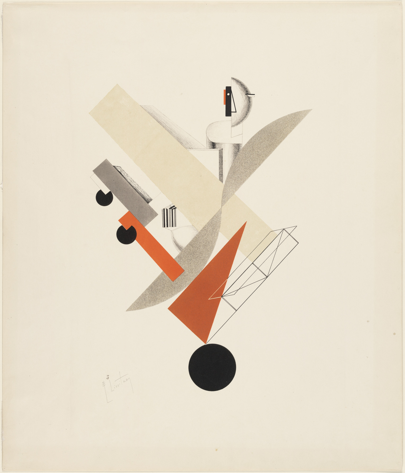 "El Lissitzky. The Globetrotter from Figurines: The Three-Dimensional Design of the Electro-Mechanical Show ""Victory over the Sun"" (Figurinen, die plastische Gestaltung der elektro-mechanischen Schau ""Sieg über die Sonne""). 1920–21, published 1923"