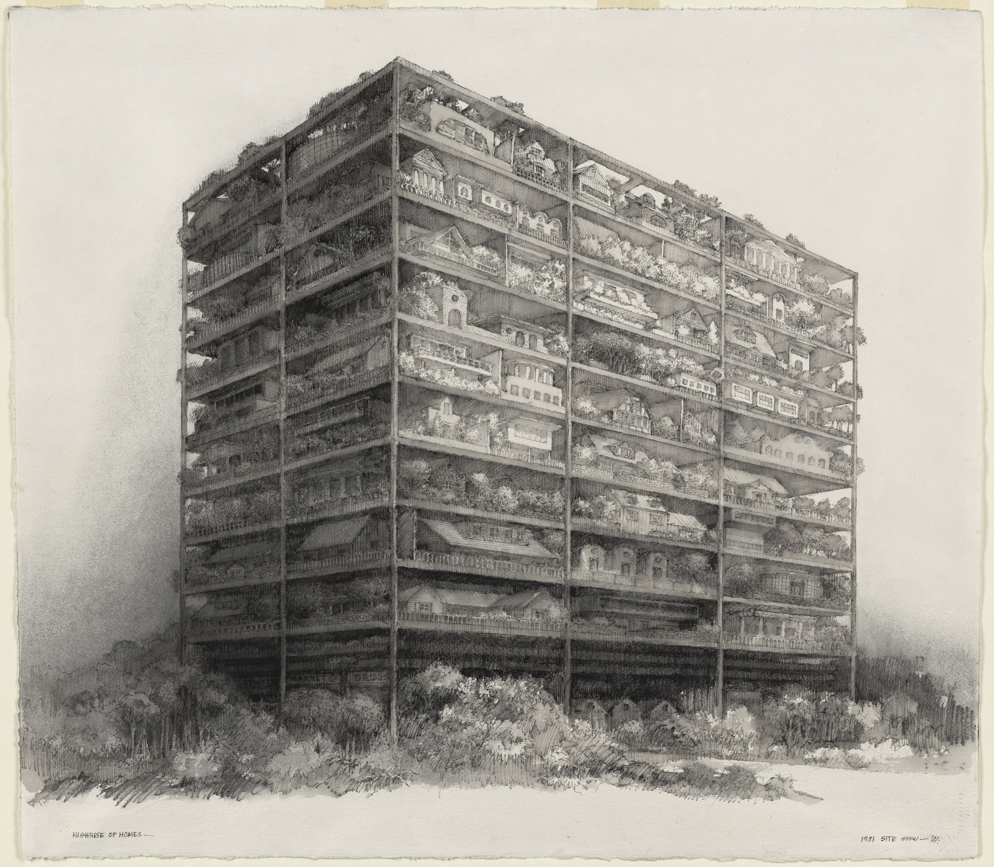 SITE (Sculpture in the Environment), James Wines. Highrise of Homes, project (Exterior perspective). 1981