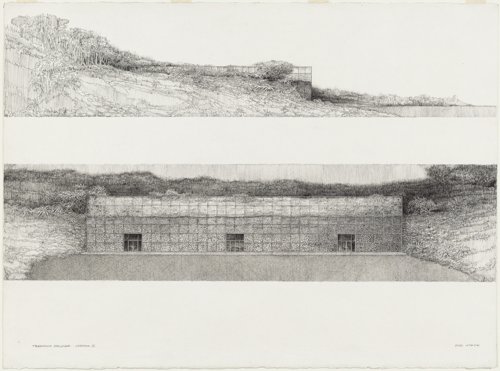 SITE, James Wines. Terrarium Showroom, Elevations. 1979