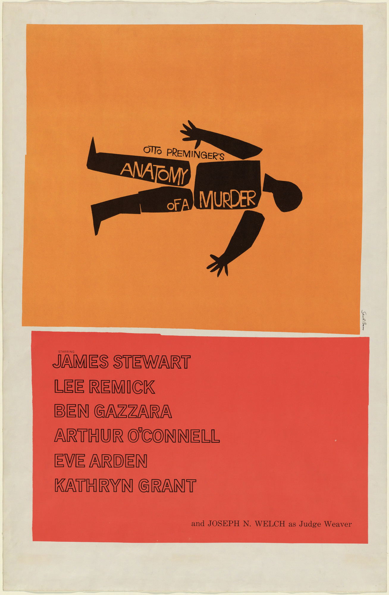 Saul Bass. Poster for the film Anatomy of a Murder directed by Otto Preminger. 1959