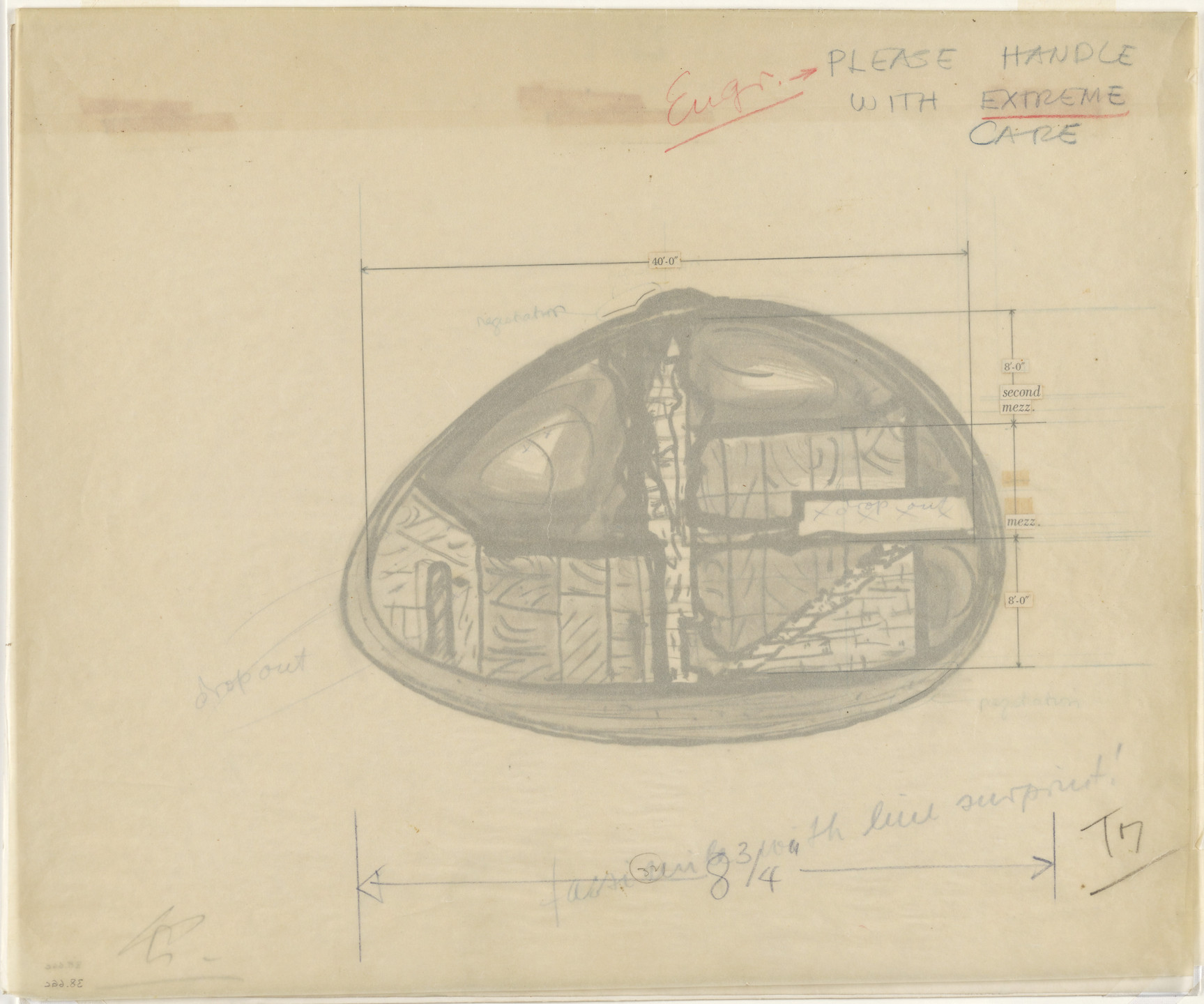 Frederick Kiesler. Endless House Project, Section. 1951