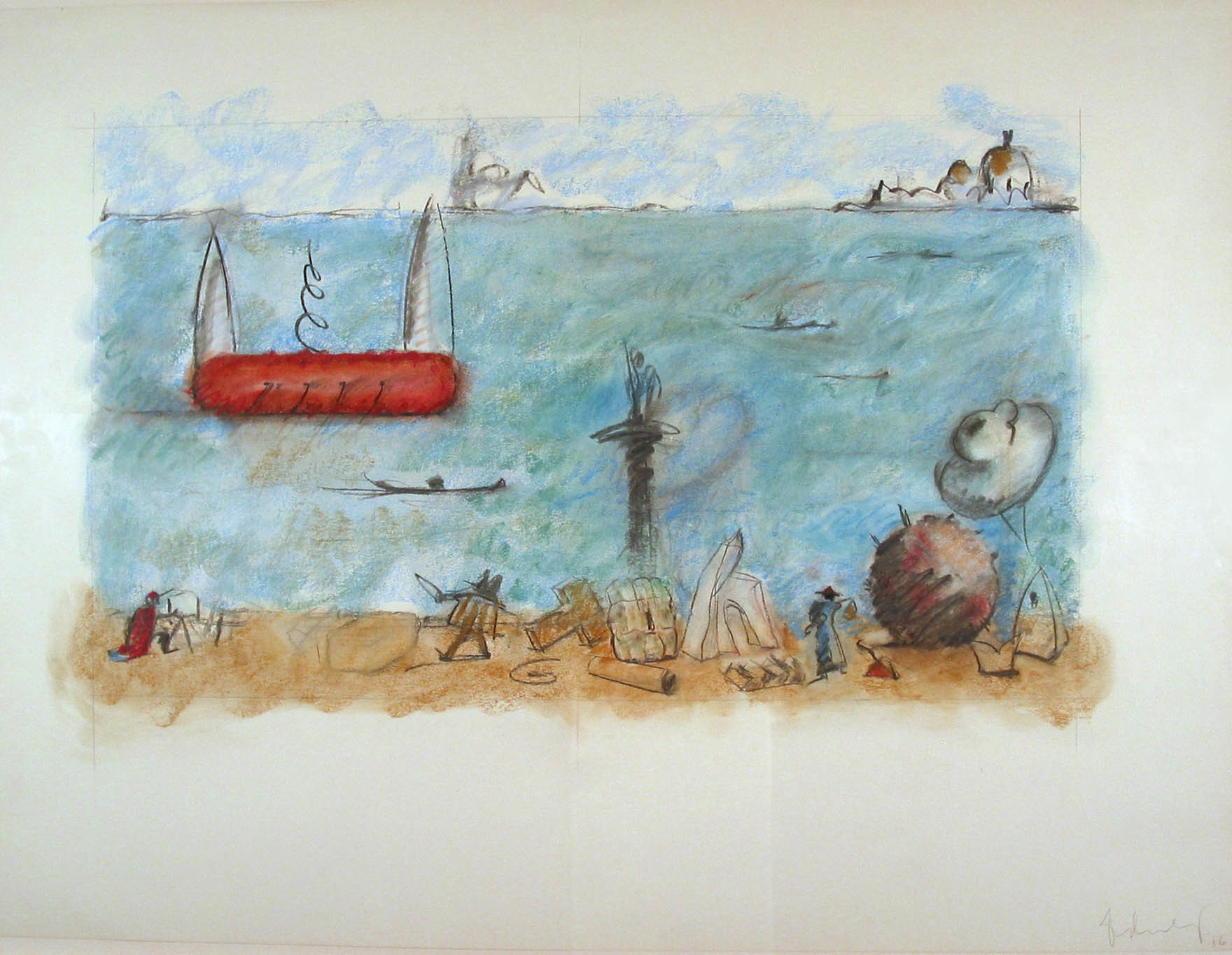 "Claes Oldenburg. Characters and Props from ""Il Corso del Coltello"" Along the Canale do San Marco, Coltello Ship in ""Background - Version II"". 1986"