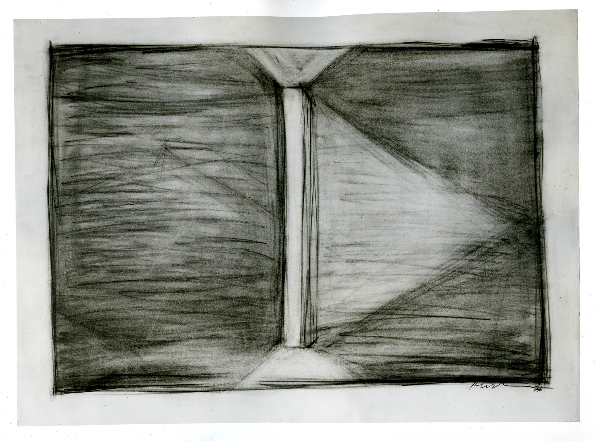 Robert Wilson. Drawing (Part of a suite of 4) for The Bed Levitation Scene for Einstein on the Beach. 1976