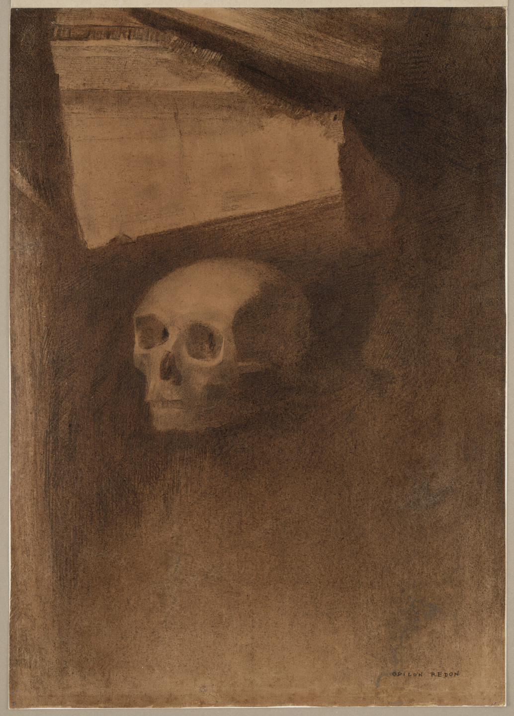 Odilon Redon. Through the Crack a Death's-Head Was Projected. (c. 1886)