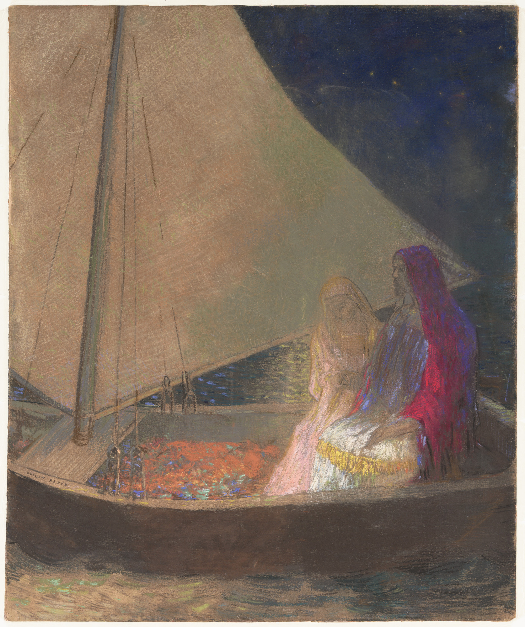 Odilon Redon. The Barque. (c. 1902)