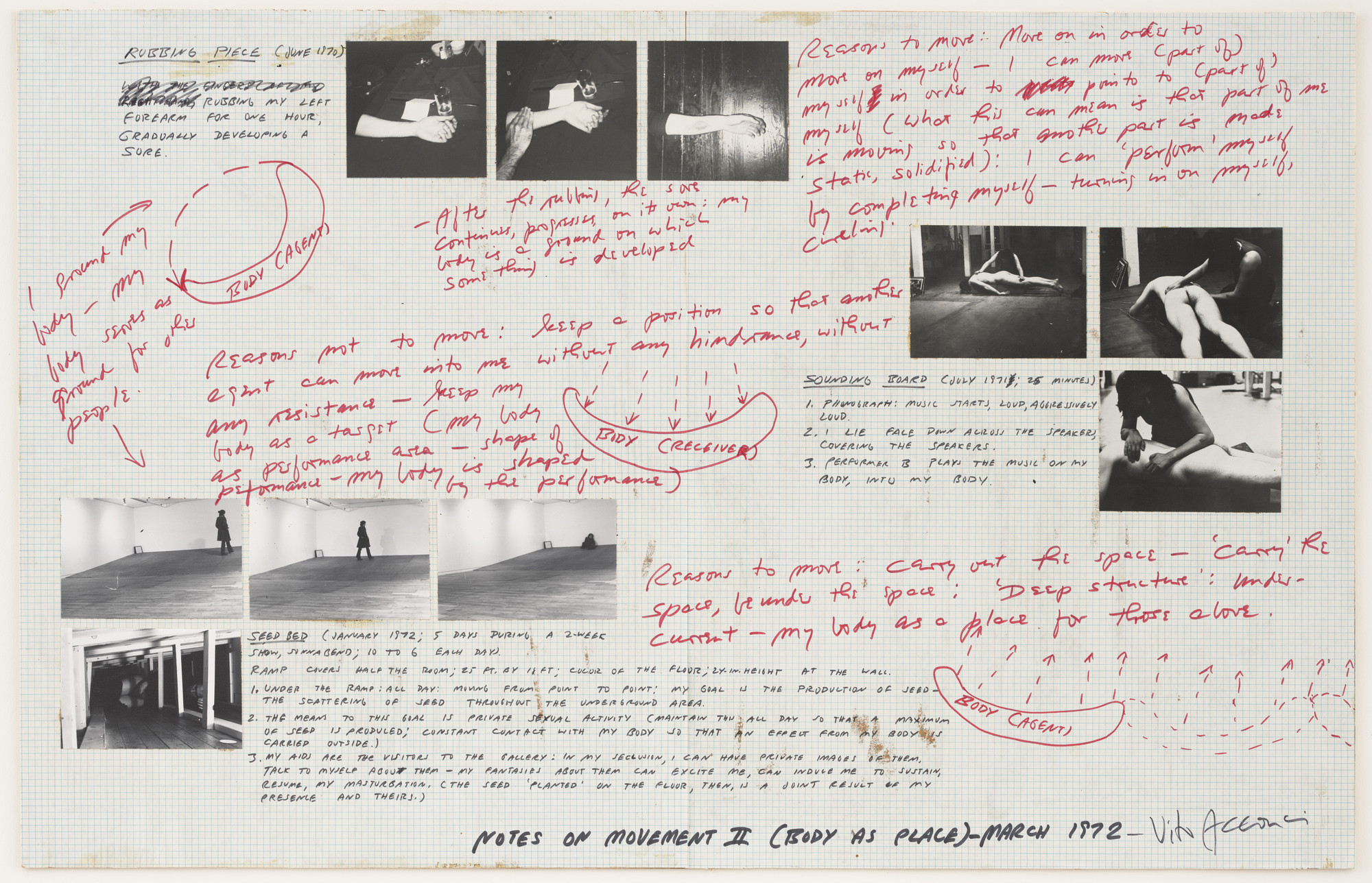 Vito Acconci. Notes on Movement II (Body as Place). March 1972