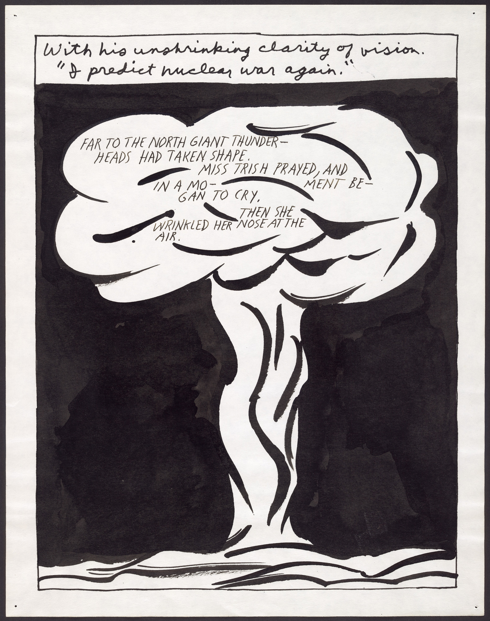 Raymond Pettibon. No Title (With his unshrinking...). 1987