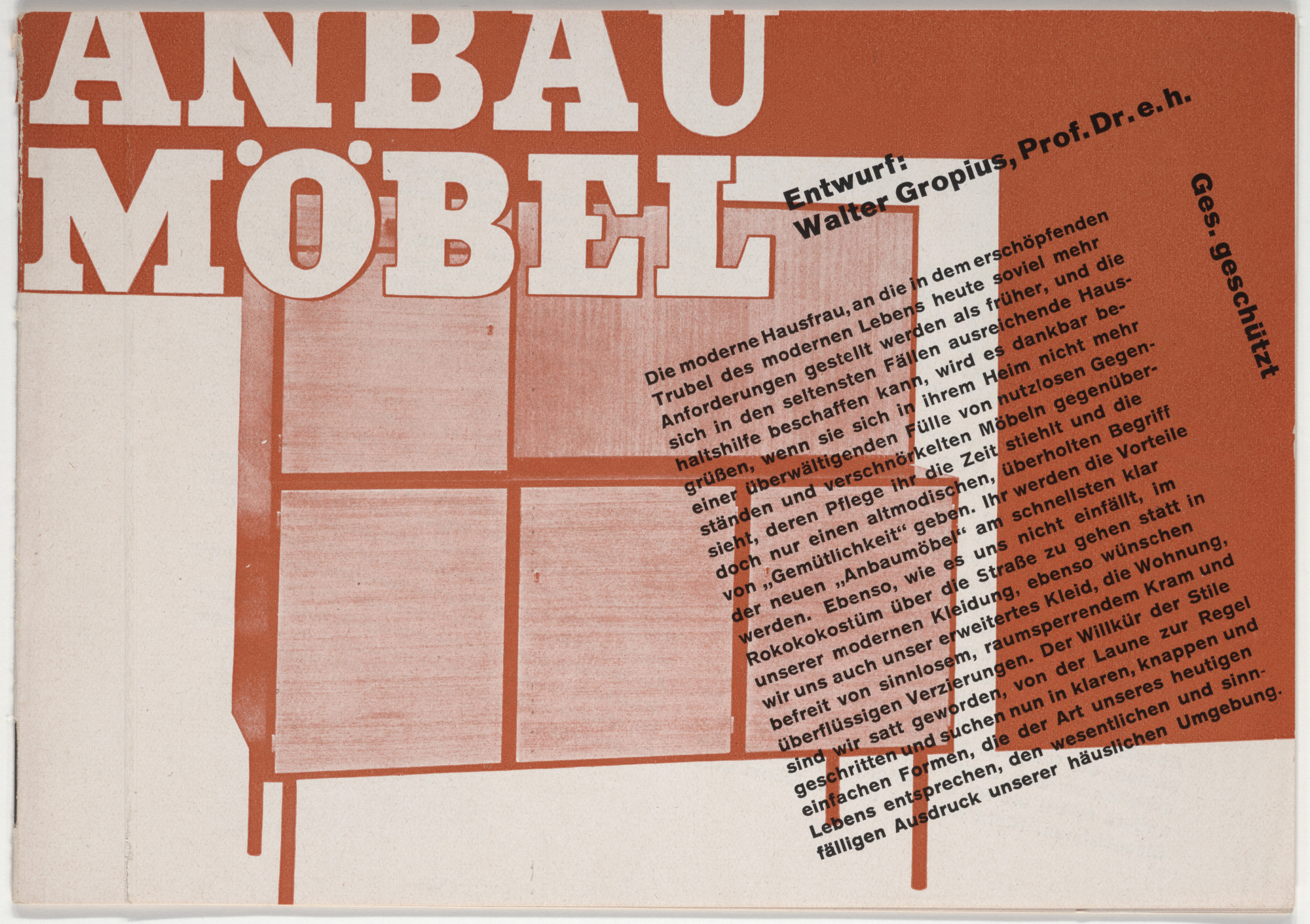 Herbert Bayer. Anbaumöbel, Entwurf: Walter Gropius, Prof. Dr. e.H (Brochure promoting modular furniture designed by Walter Gropius for the Berlin firm Feder). 1930