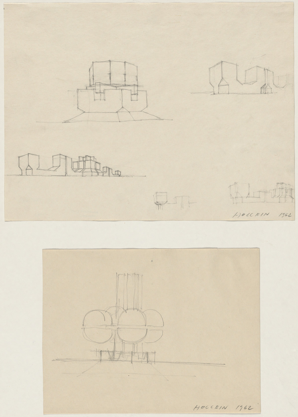Hans Hollein. Building Form Studies, project, Perspectives. 1962