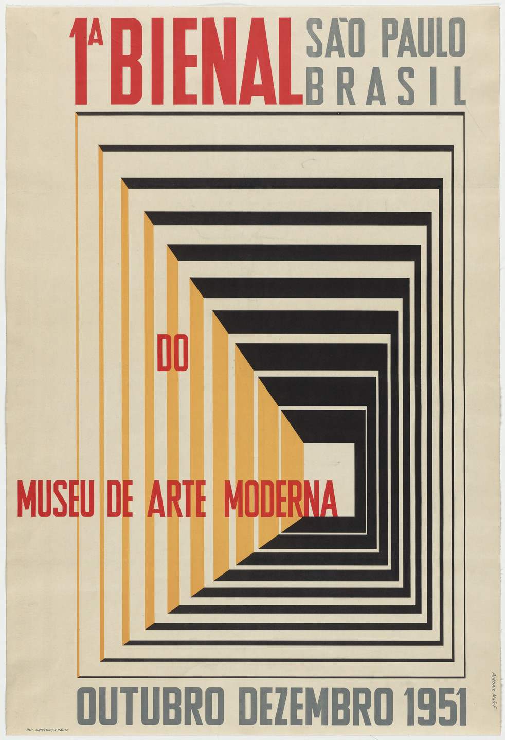 Antonio Maluf. 1a Bienal do Museu de Arte Moderna (Poster for an exhibition in São Paulo, Brazil). 1951