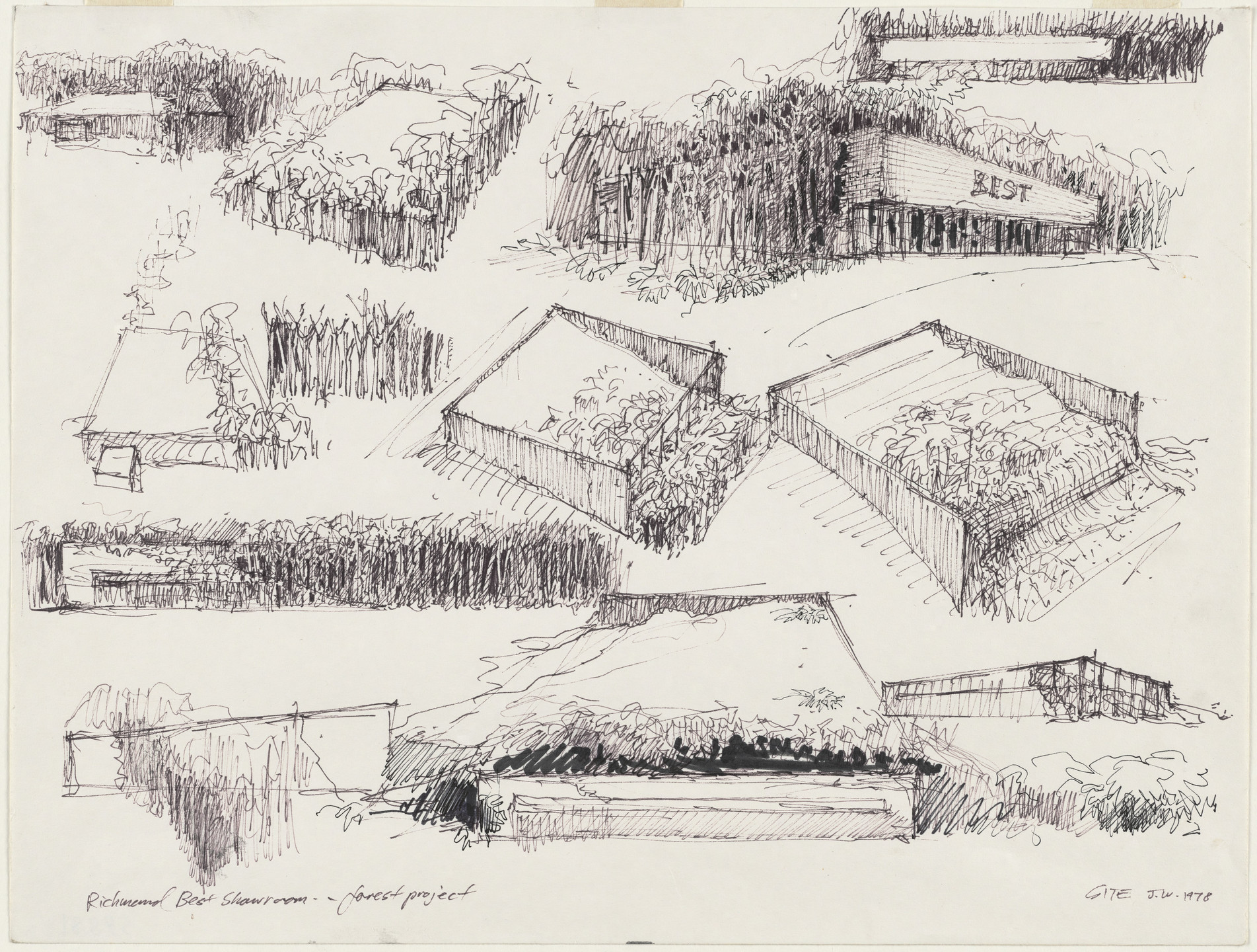 SITE, James Wines. Forest Building, Richmond, Virginia (Perspective). 1978