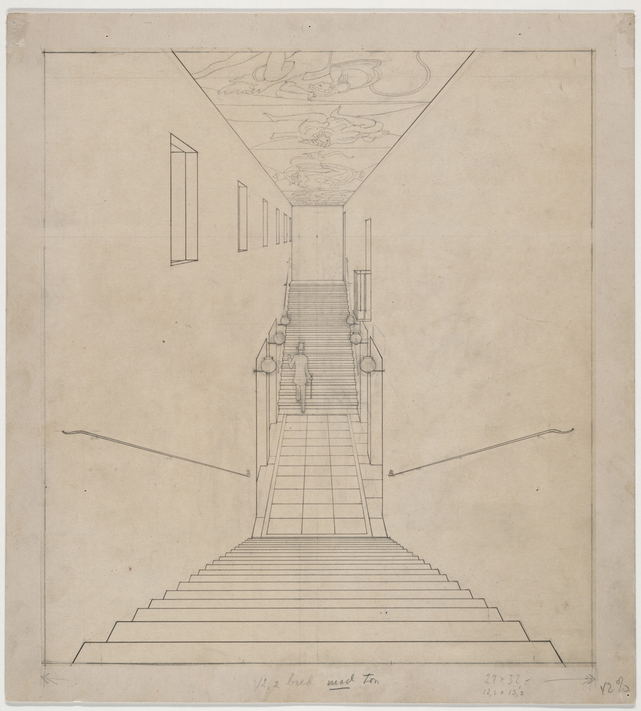 Erik Gunnar Asplund. Skandia Cinema, Stockholm, Sweden, Perspective of staircase. Unknown