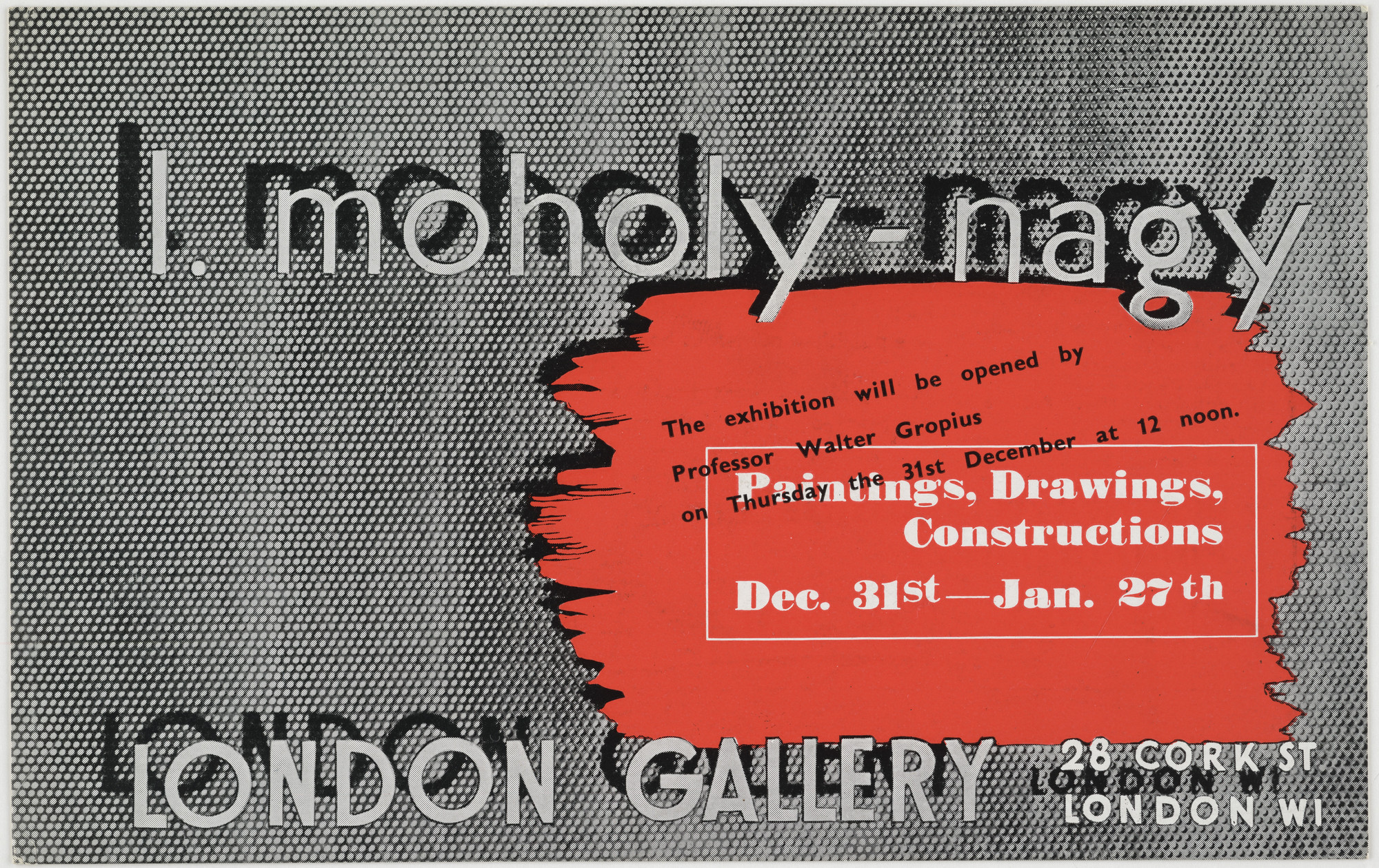 László Moholy-Nagy. L. Moholy-Nagy: Paintings, Drawings, Constructions Dec. Dec. 31st-Jan. 27th, London Gallery. 1930s