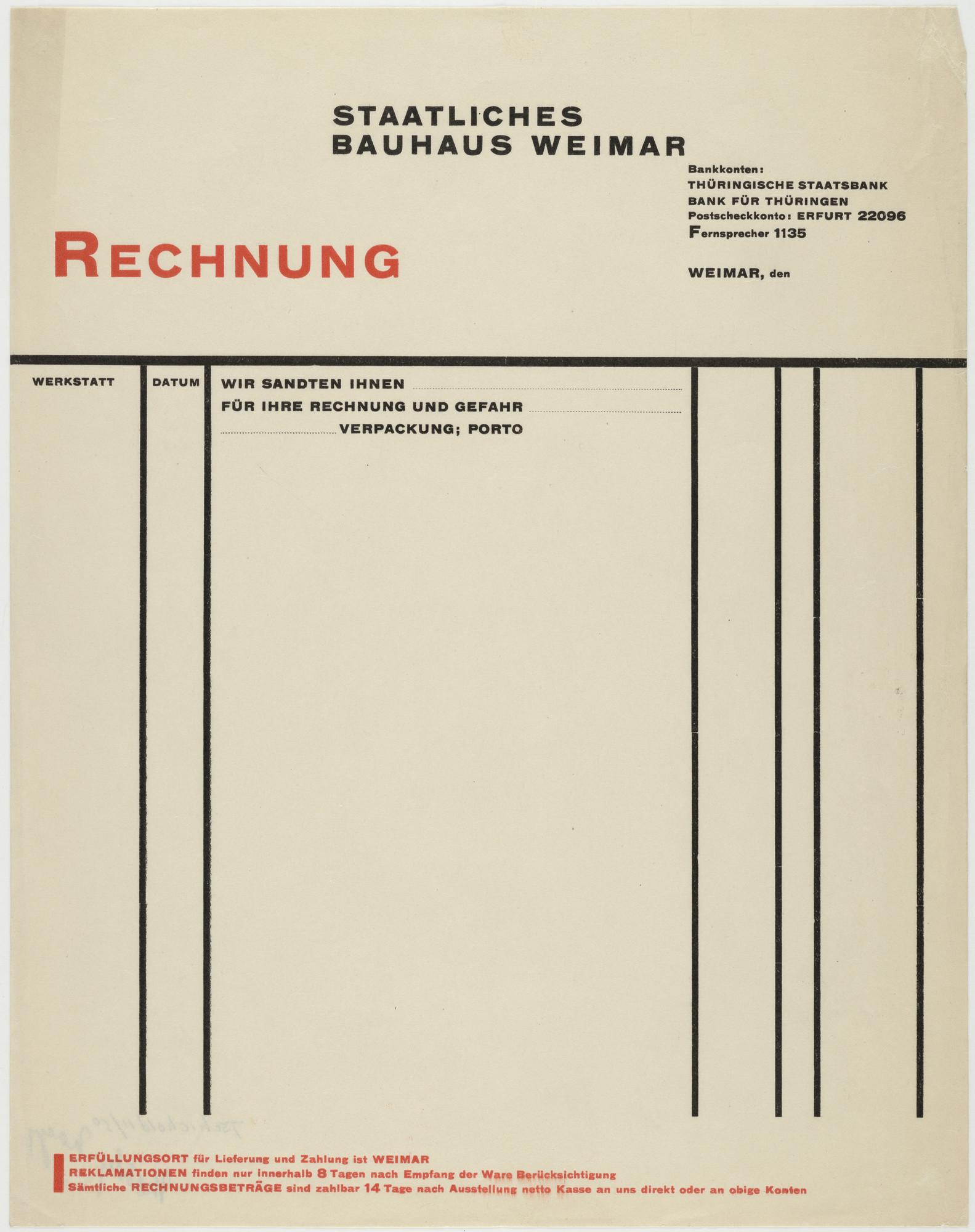 László Moholy-Nagy. Staatliches Bauhaus Weimar Rechnung. 1919-25 | MoMA