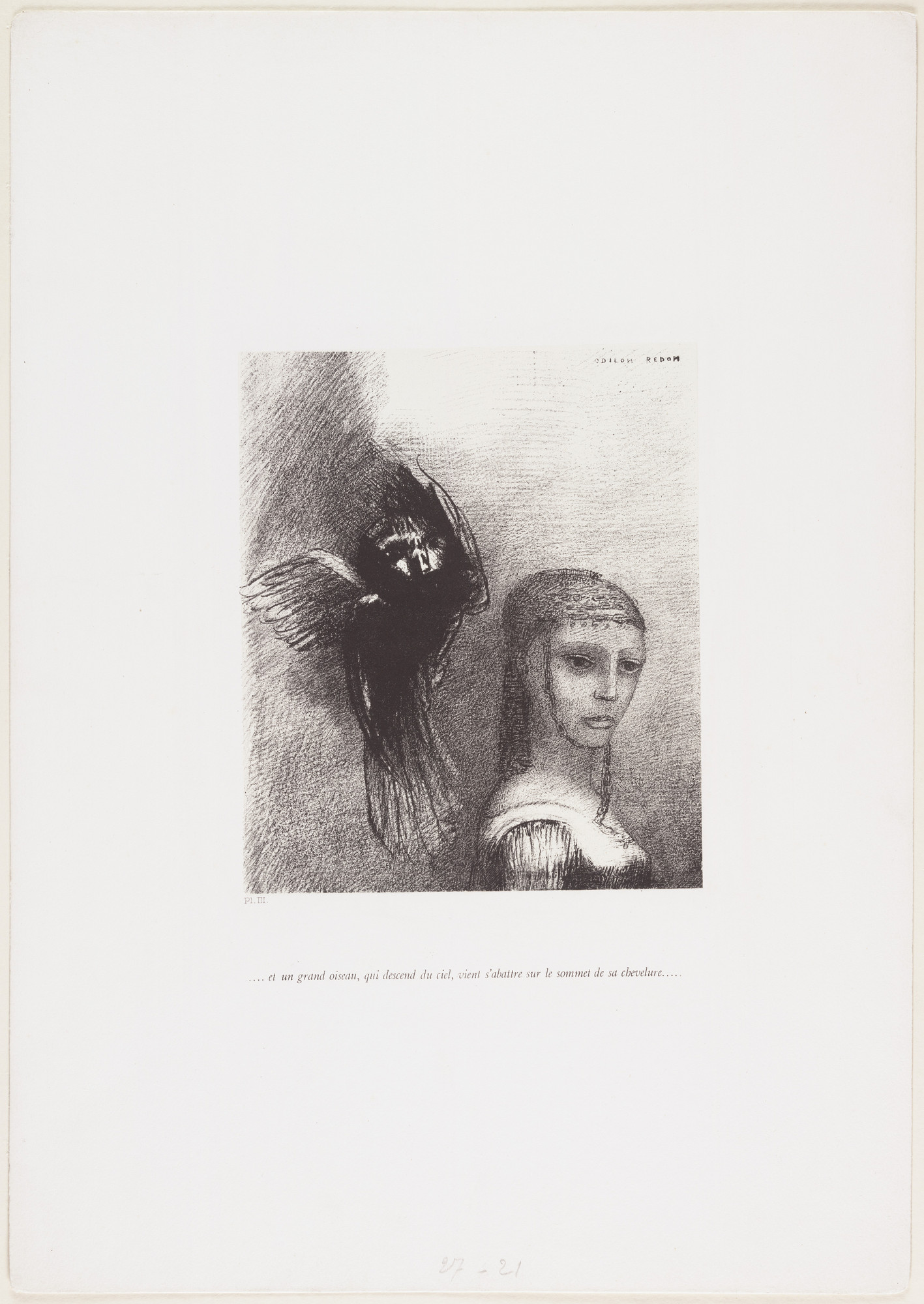 Odilon Redon. . . . And a Large Bird, Descending from the Sky, Hurled Itself Against the Topmost Point of Her Hair . . . _ ( _. . . Et un grand oiseau qui descend du ciel, vient s'abattre sur le sommet de sa chevelure . . . ) from The Tempation of Saint Anthony (La Tentation de Saint-Antoine). 1888