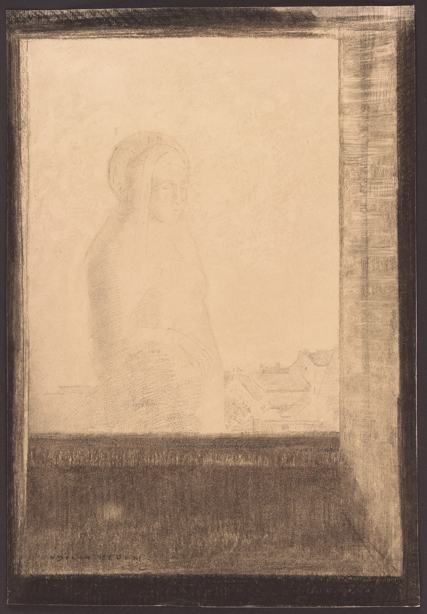 Odilon Redon. Apparition in the Window. (c. 1892)