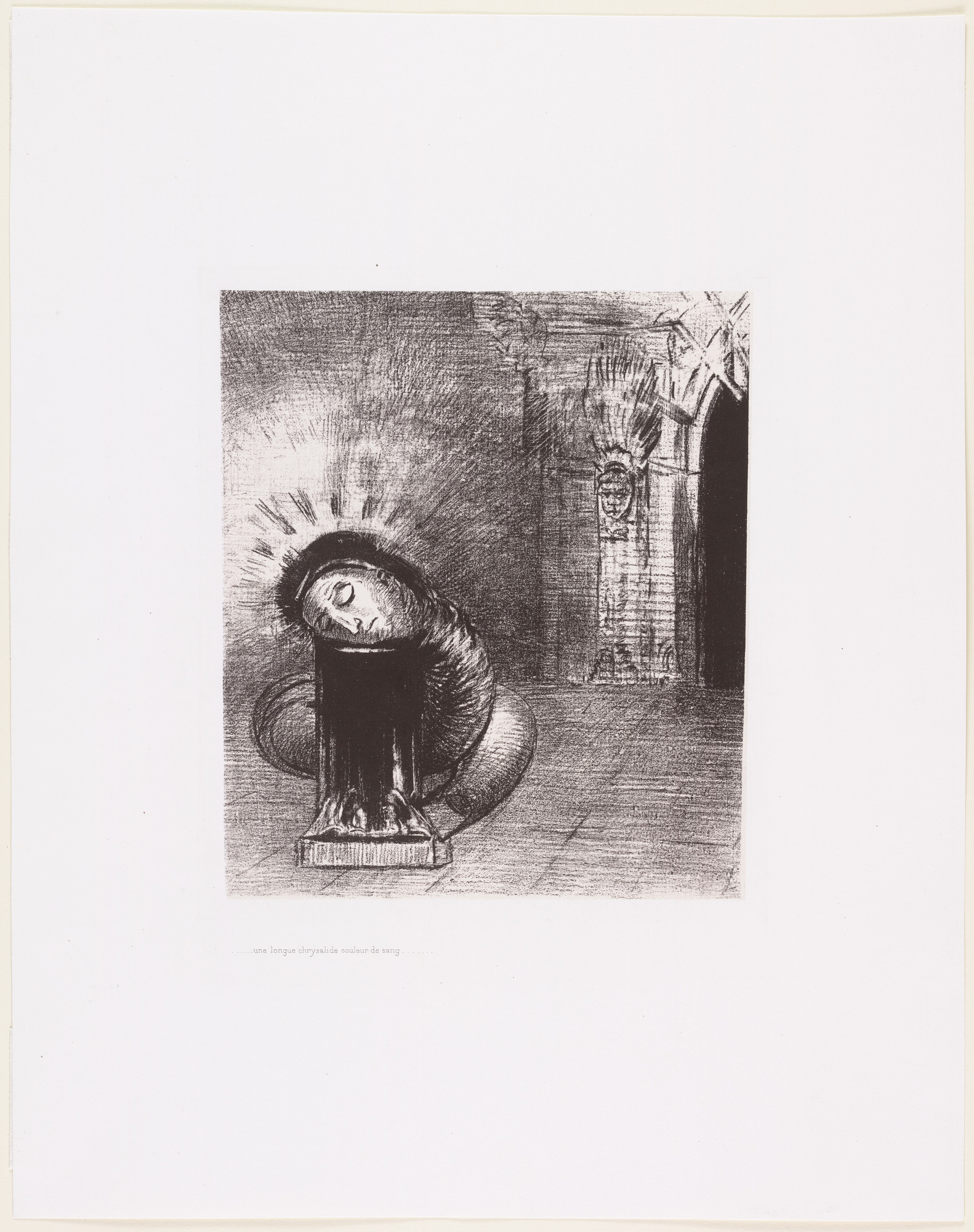 Odilon Redon. . . . A Long Chrysalis, the Color of Blood (. . . une longue chrysalide couleur de sang). 1889
