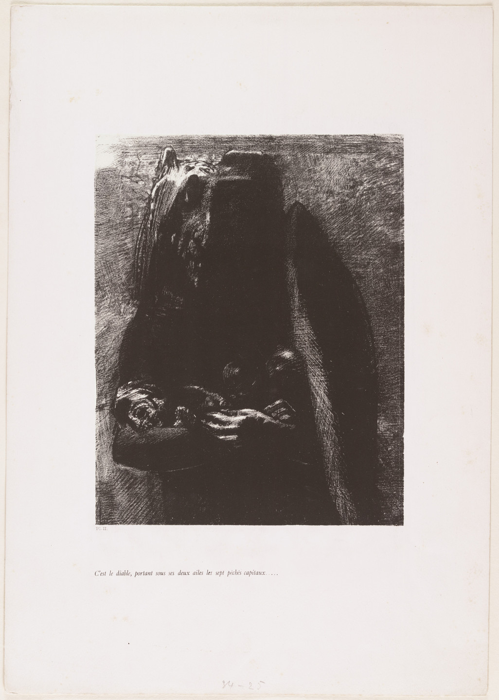Odilon Redon. It Is the Devil, Bearing beneath His Two Wings the Seven Deadly Sins (C'est le diable, portant sous ses deux ailes les sept péchés capitaux) from The Temptation of Saint Anthony (La Tentation de Saint-Antoine)_ _. 1888