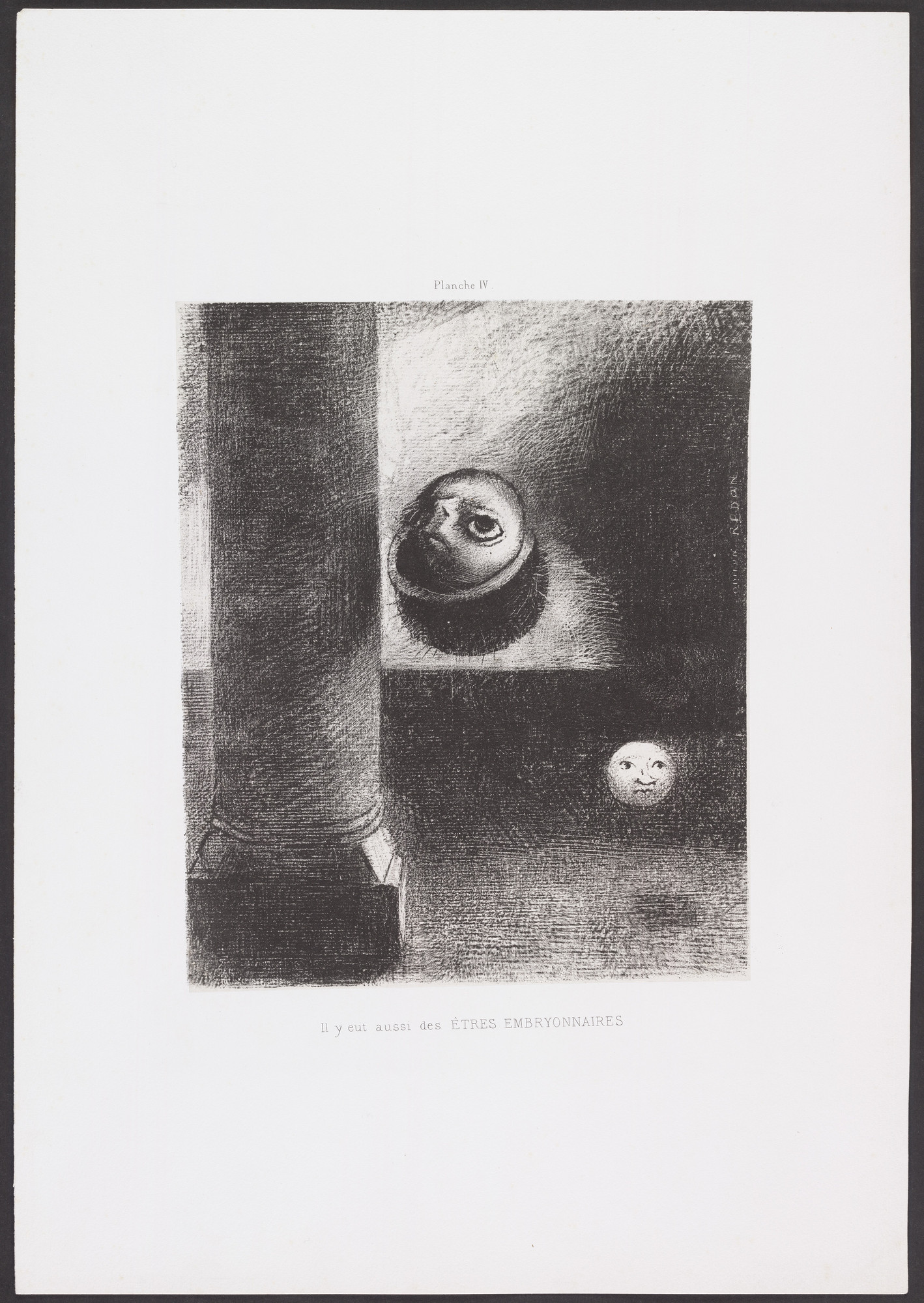 Odilon Redon. There Were Also Embryonic Beings (Il y eut aussi des êtres embryonnaires) from Homage to Goya (Hommage à Goya). 1885