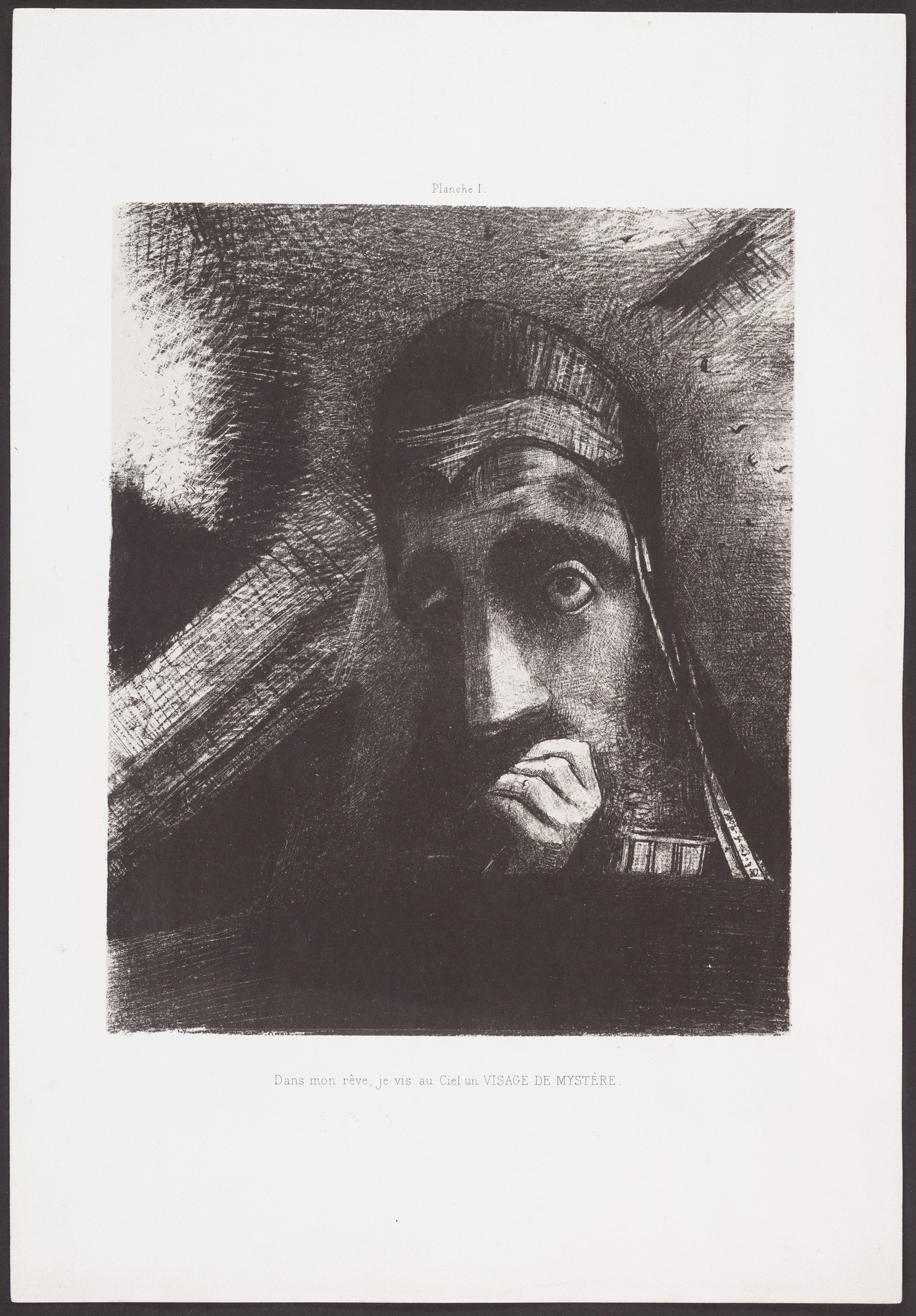 Odilon Redon. In My Dream, I Saw in the Sky a Face of Mystery (Dans mon rêve, je vis au ciel un visage de mystère) from Homage to Goya (Hommage à Goya). 1885