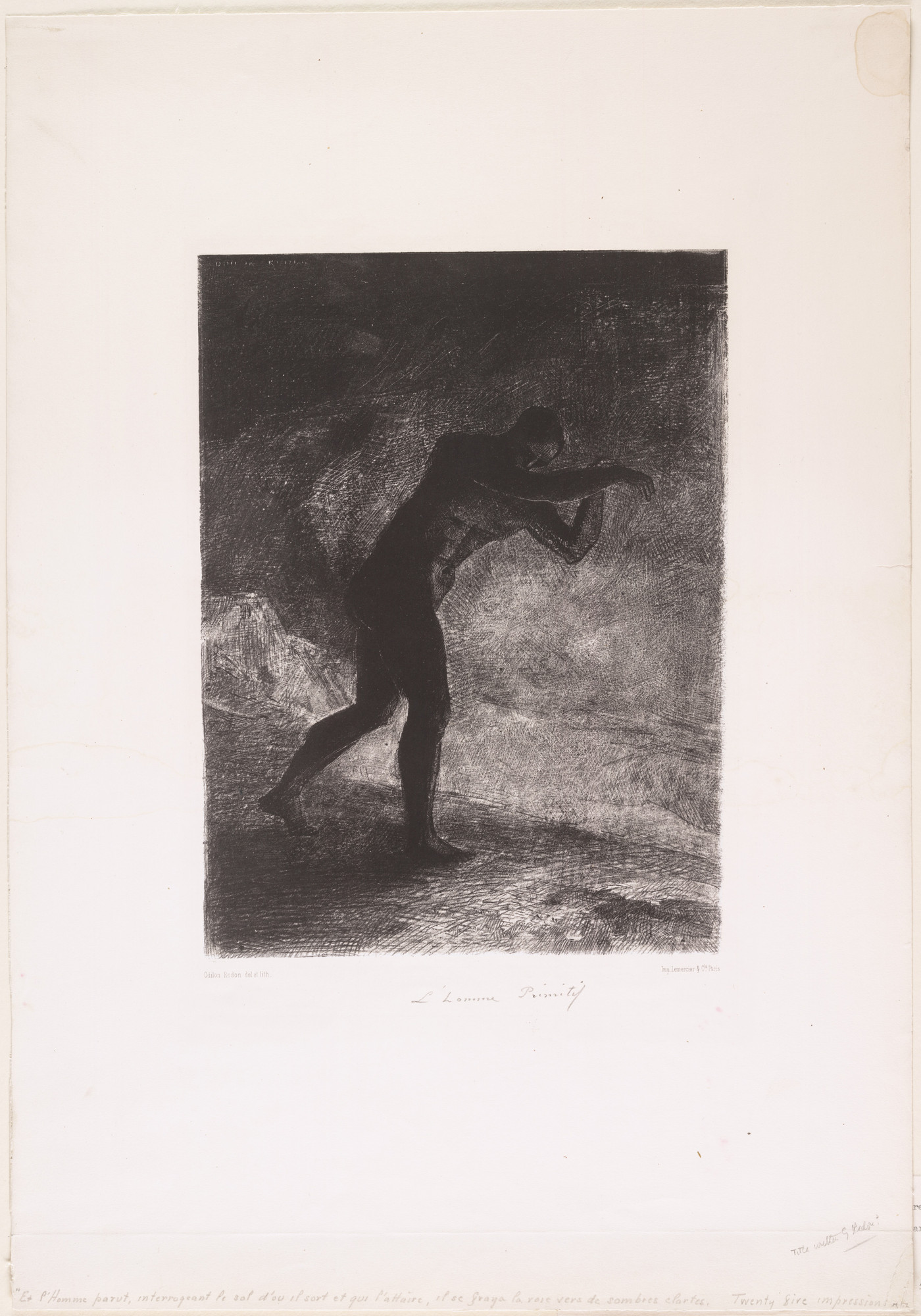Odilon Redon. And Man Appeared, Questioning the Earth from Which He Came and Which Draws Him Back, as He Cleared a Way Forward to the Murky Light (Et l'homme parut, interrogeant le sol d'où il sort et qui l'attire, il se fraya la voie vers de sombres clartés). 1883
