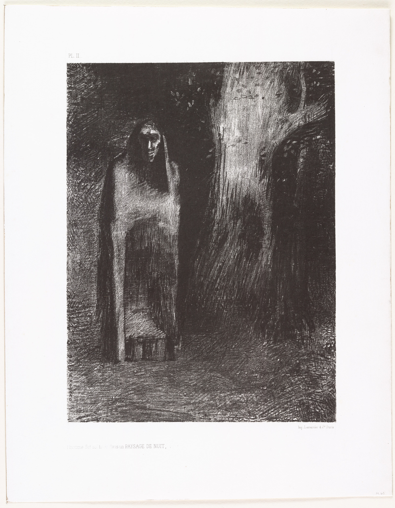 Odilon Redon. The Man Was Alone in a Night Landscape (L'Homme fut solitaire dans un paysage de nuit). 1886