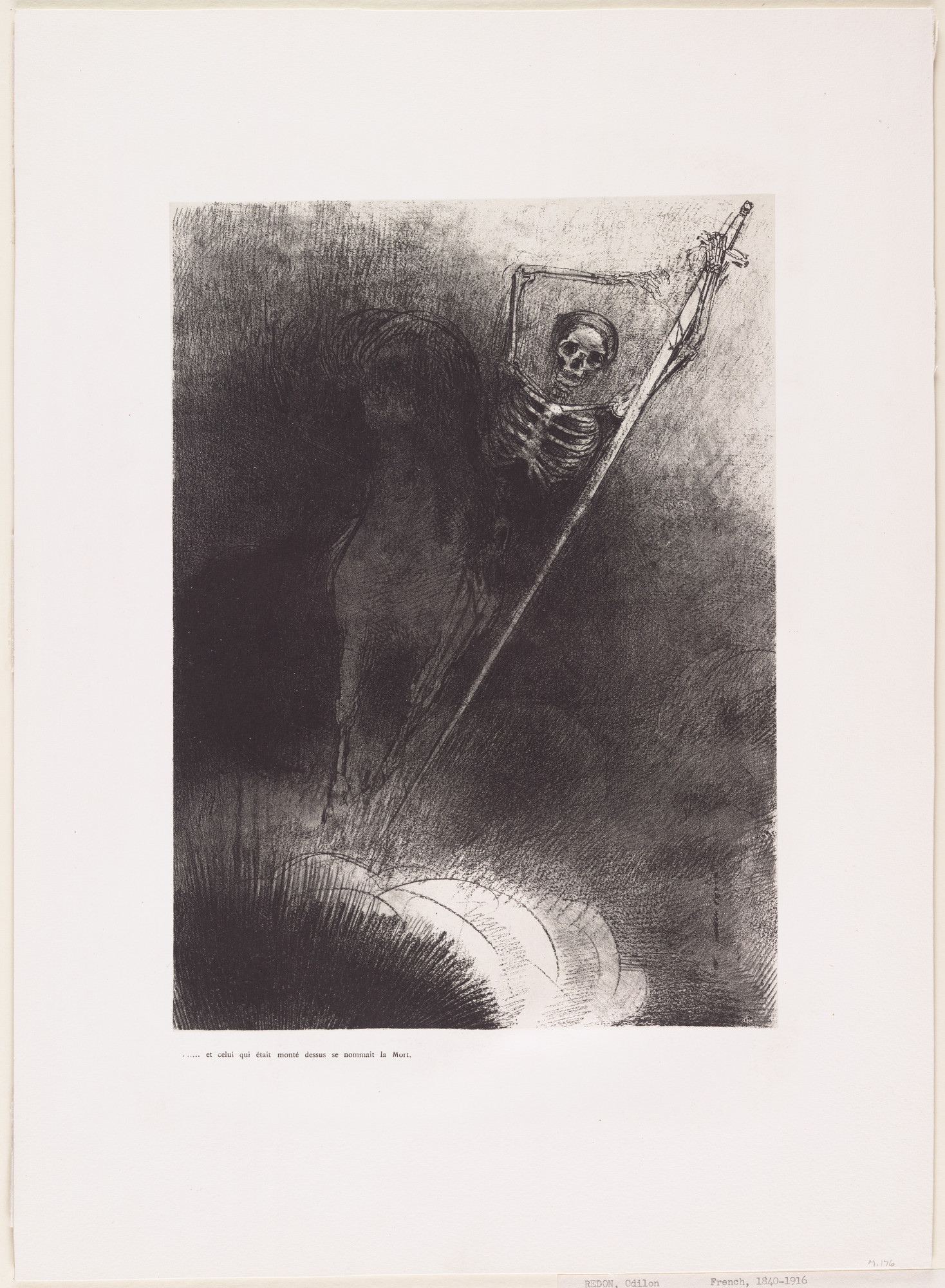 Odilon Redon. . . . And His Name That Sat on Him Was Death (. . . et celui qui était monté dessus se nommait la Mort). 1899