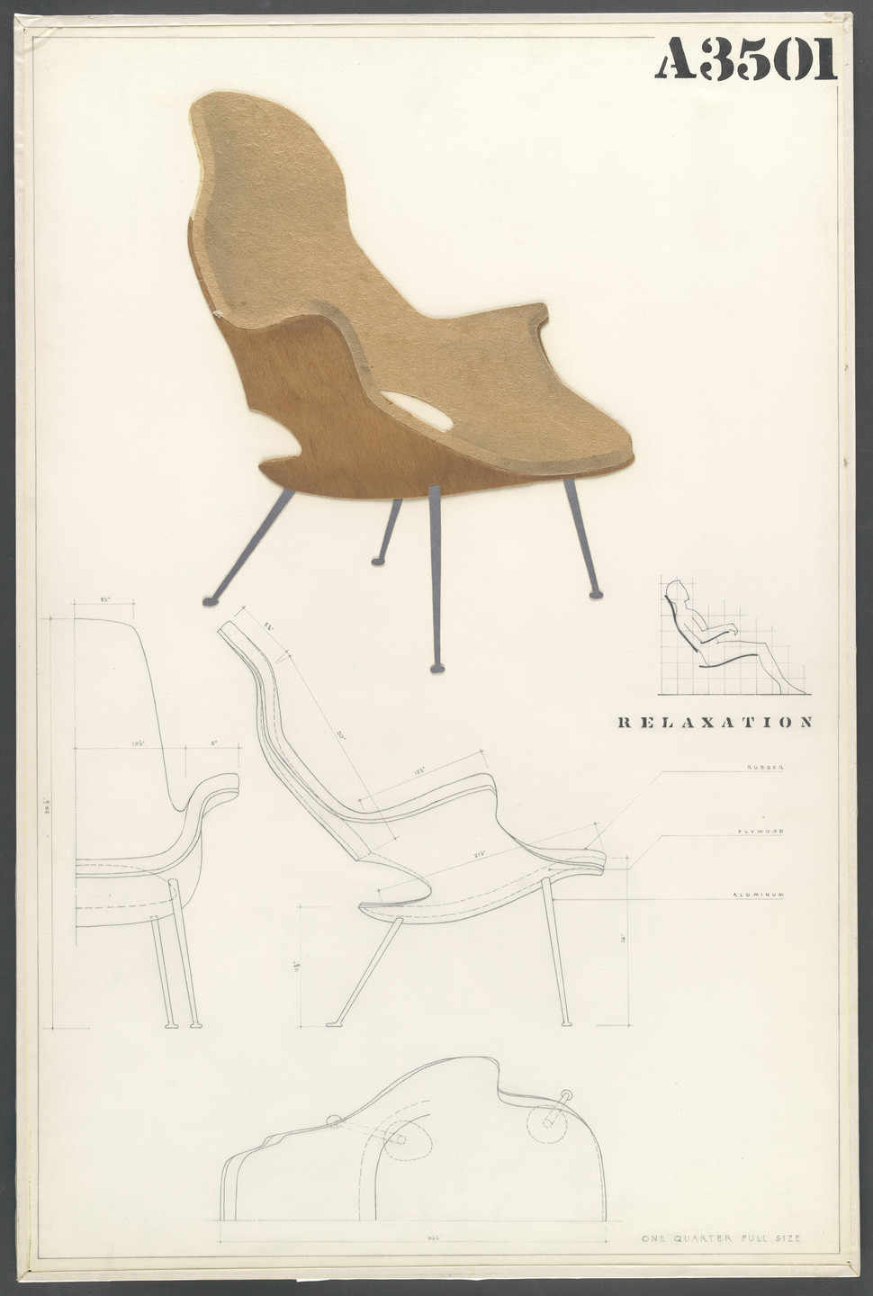 Charles Eames, Eero Saarinen. High-Back Armchair (Entry Panel for MoMA Competition for Organic Design in Home Furnishings). 1940