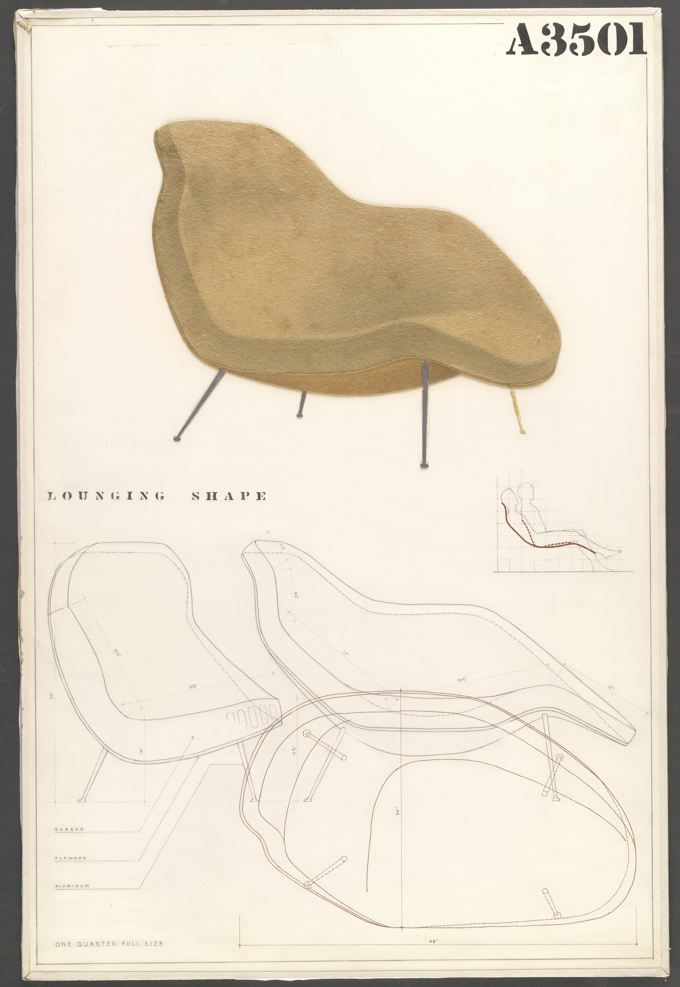 Charles Eames, Eero Saarinen. Lounge Chair (Entry Panel for MoMA Competition for Organic Design in Home Furnishings). 1940