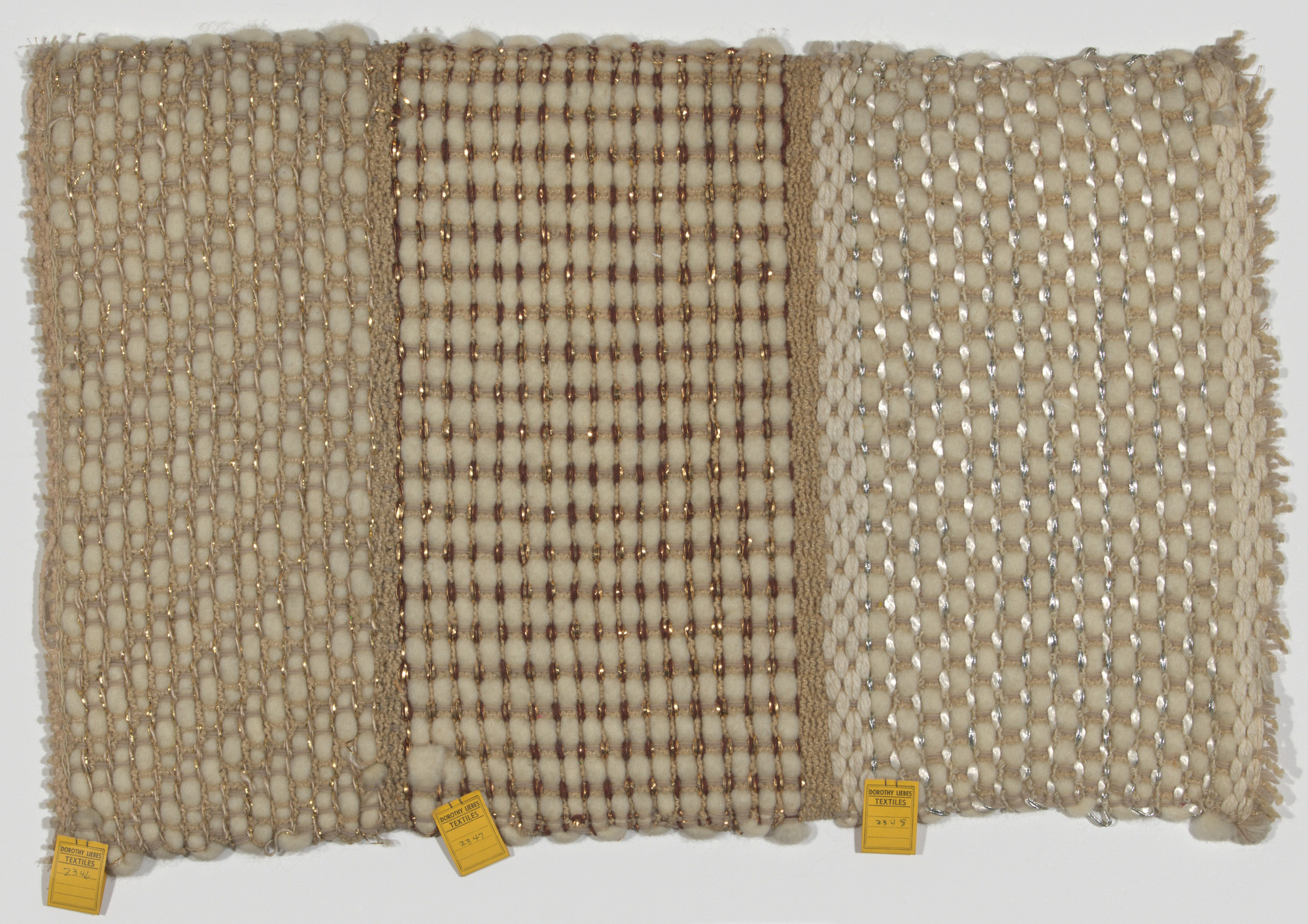 Dorothy Liebes. Sample Blanket Showing Three Weaves. c. 1946